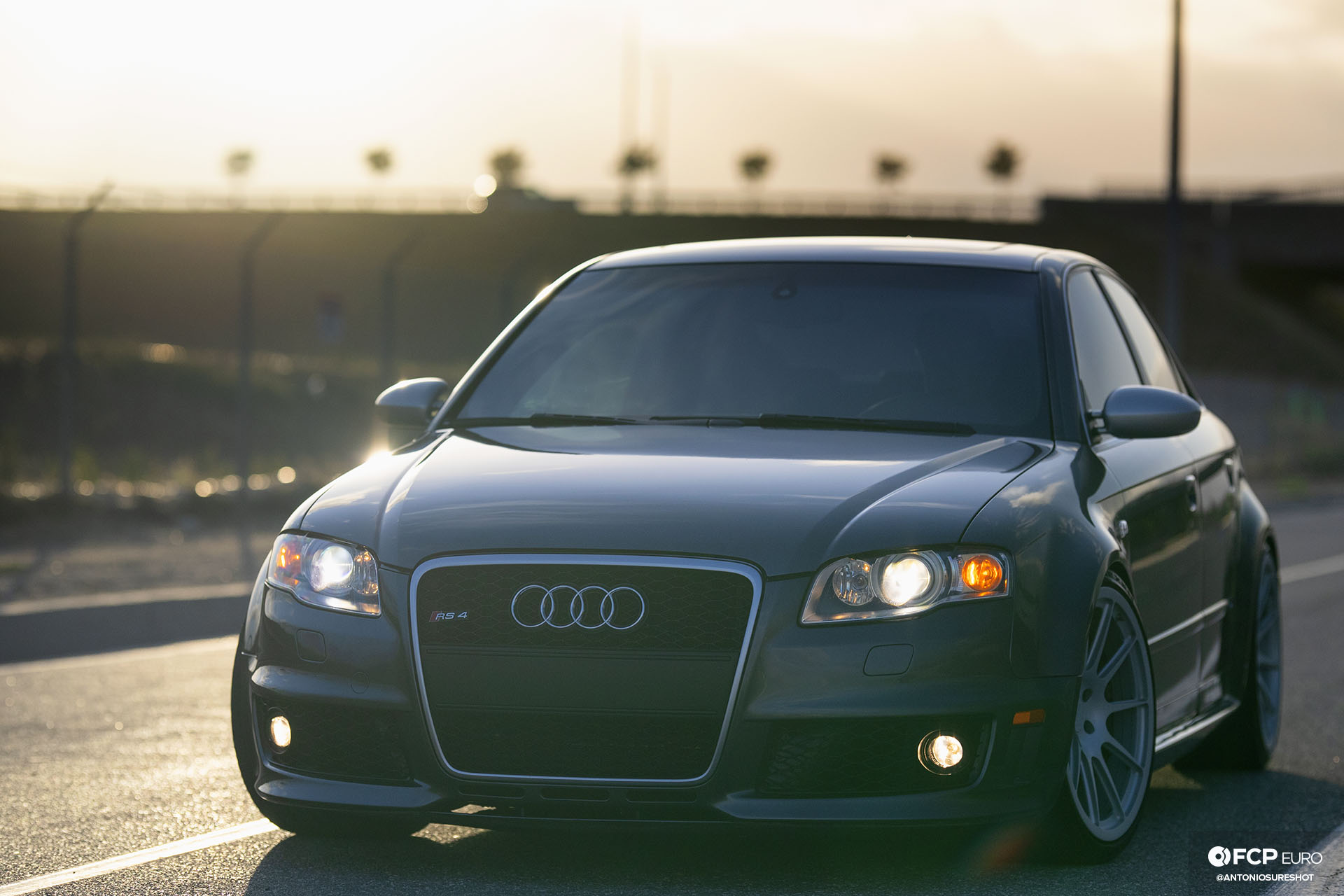 B7 Audi RS4 front shot with lights on