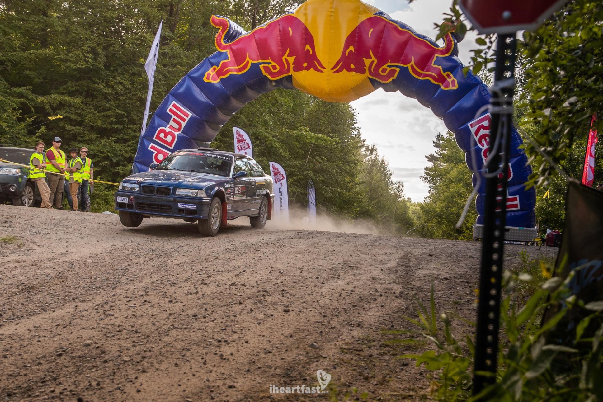 Bearded Ryno Rally Team Ojibwe Forests Rally Red Bull jump BMW E36 M3 Rallycar