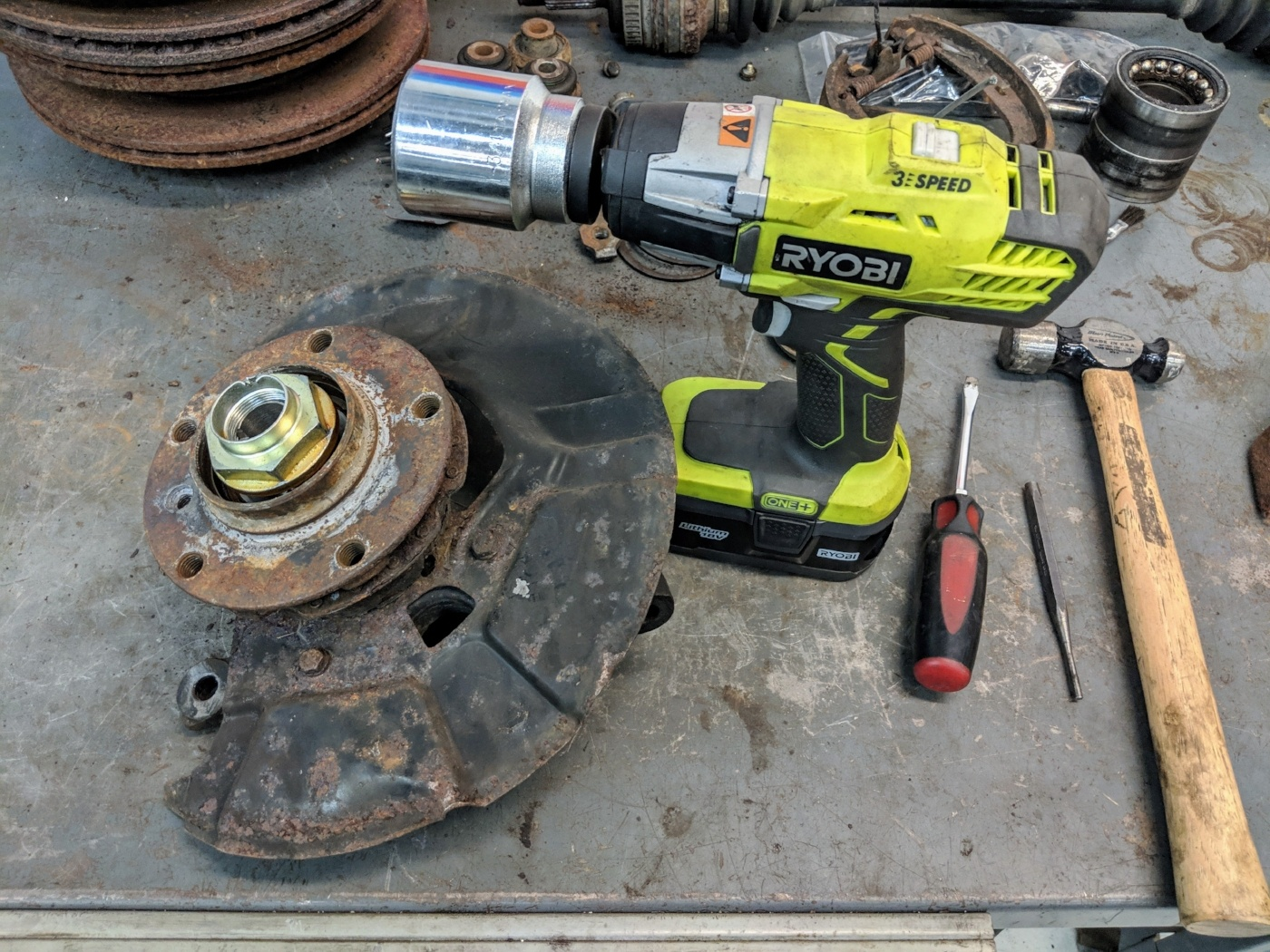 e36 wheel hub nut removal ryobi impact