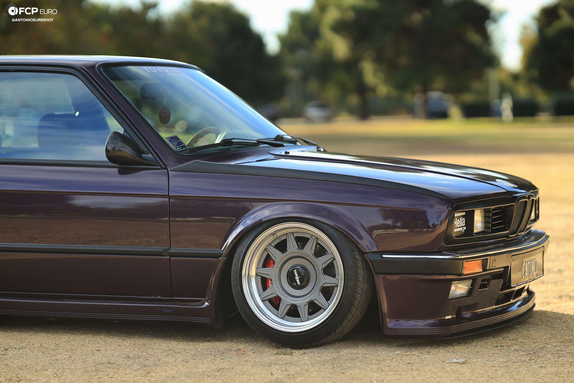 CAtuned Daytona Violet E30 BMW Rotiform SAC Wheels