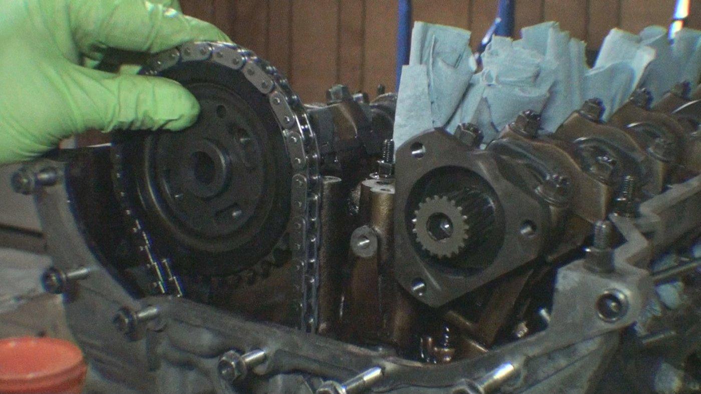 Installing exhaust cam sprocket onto camshaft
