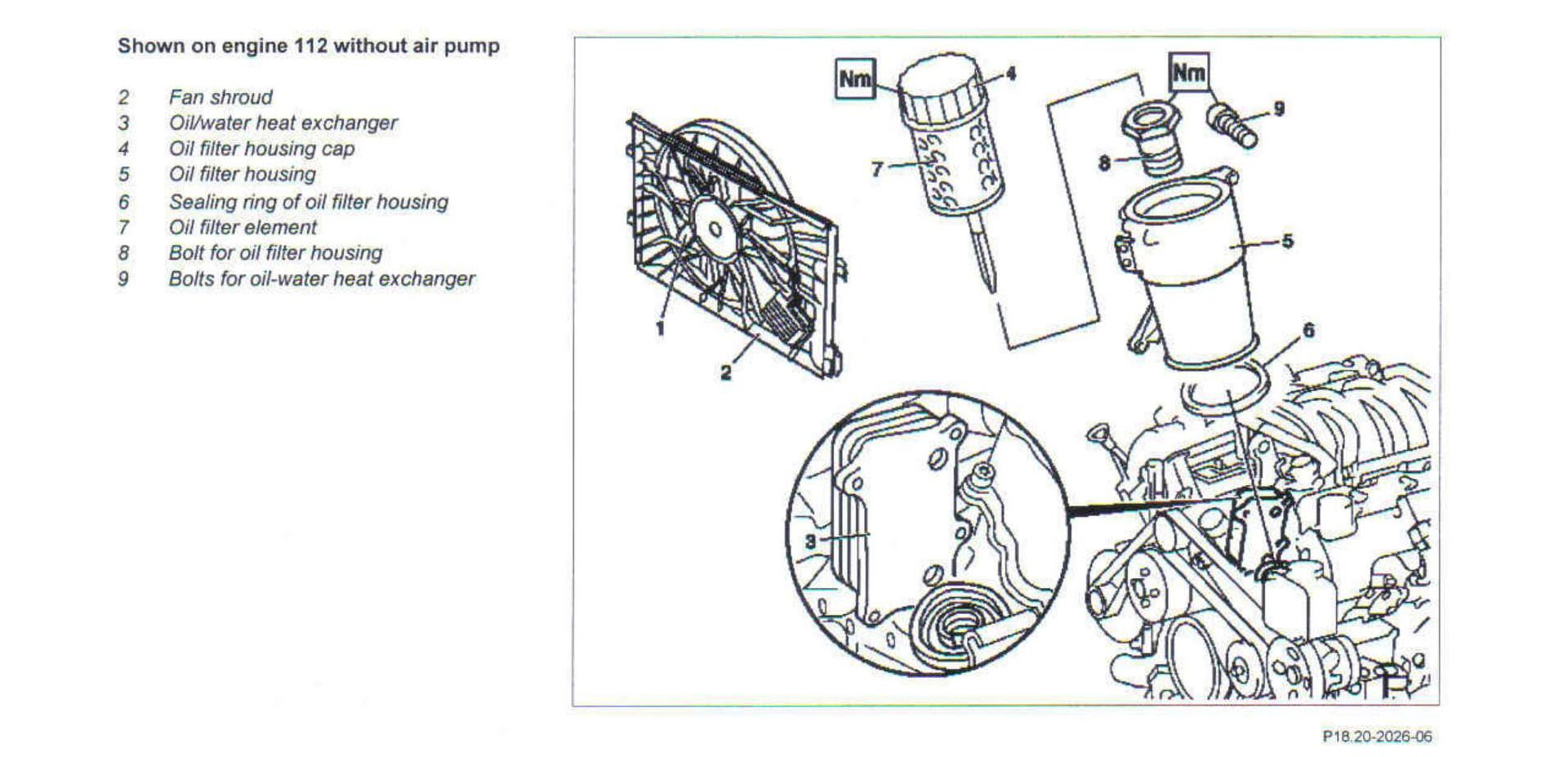 Mercedes-Benz M112 Oil Filter Housing Diagram