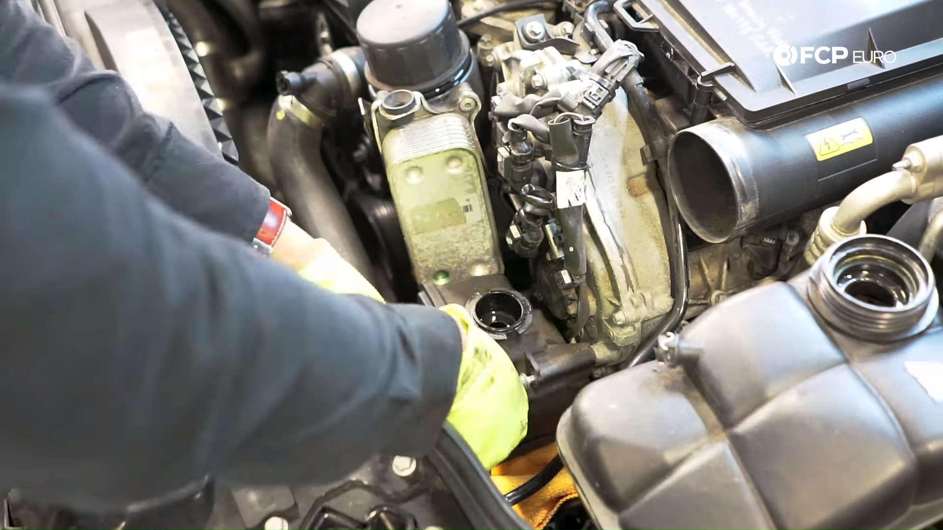 Mercedes m272 oil cooler gasket power steering fluid reservoir