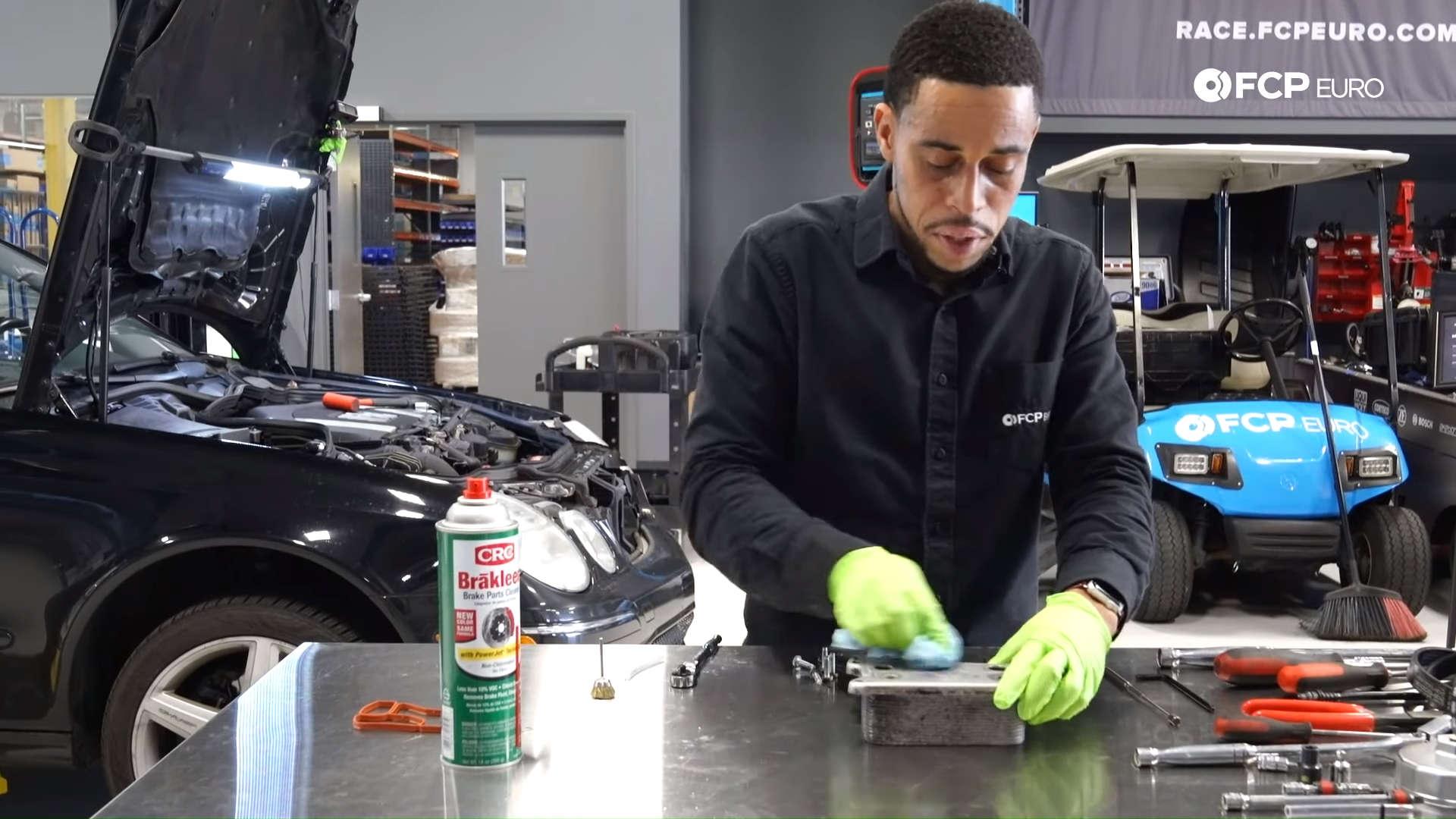 Mercedes m272 oil cooler gasket clean surfaces