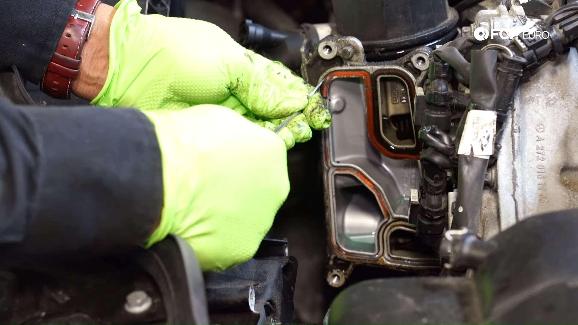Mercedes m272 oil cooler gasket removal
