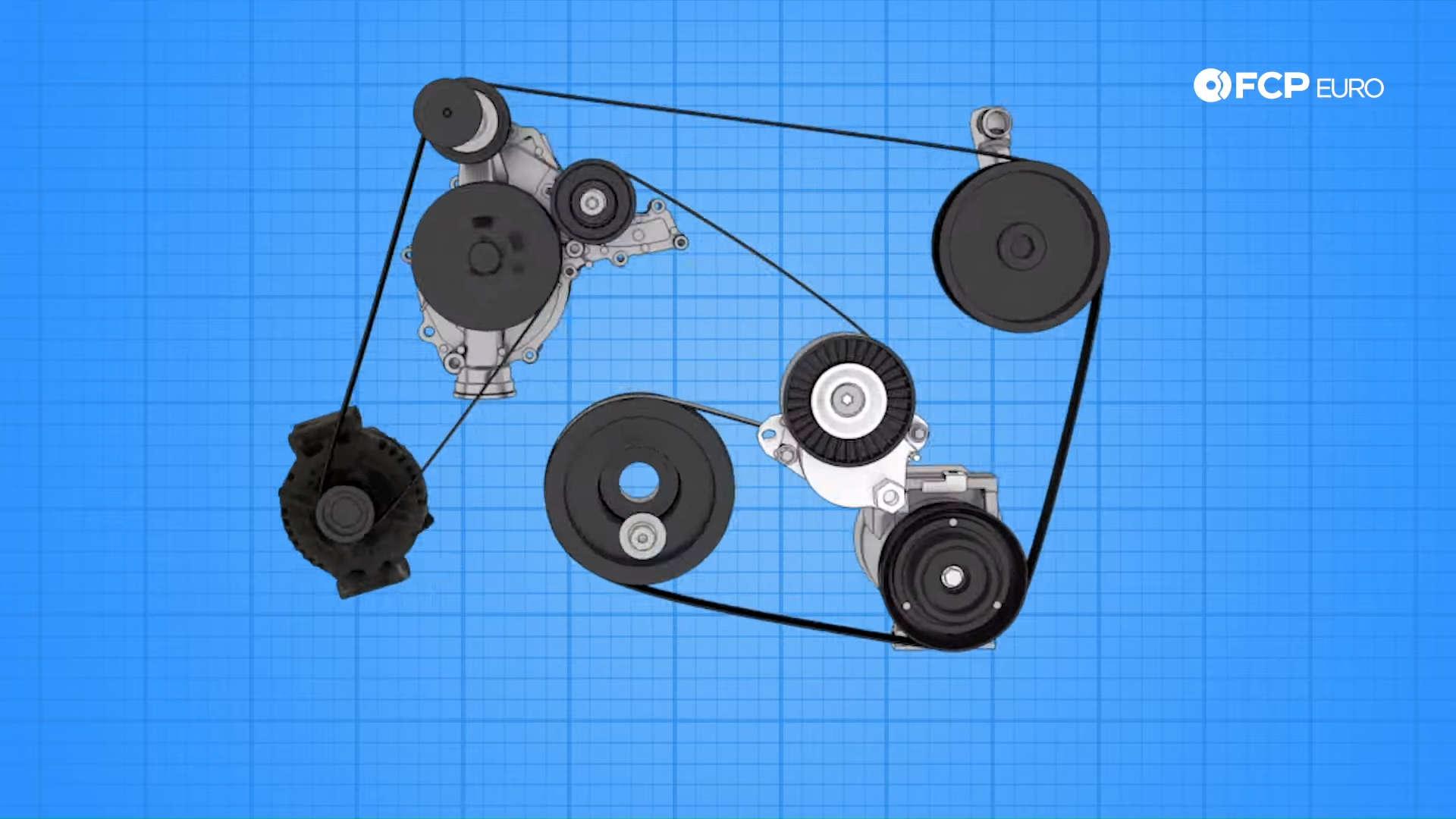 Mercedes m272 oil cooler gasket drive belt routing diagram