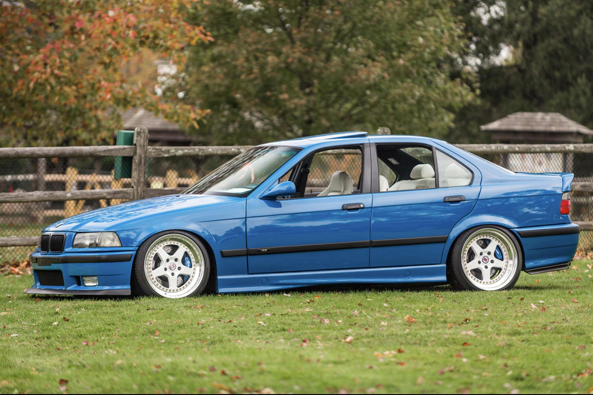 Laguna Seca Blue E36 M3 clone on HRE wheels profile