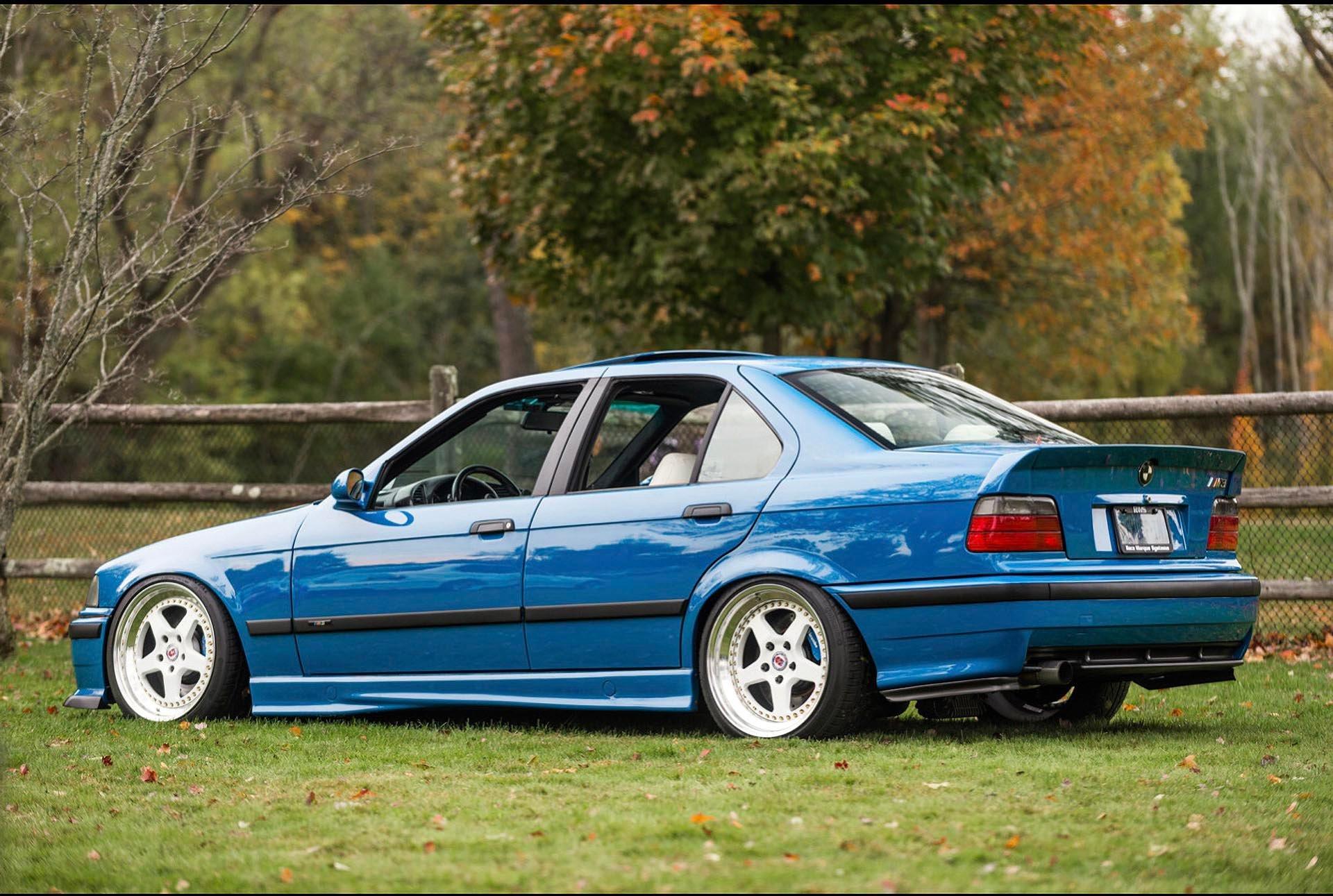 Laguna Seca Blue E36 M3 clone AC Schnitzer HRE wheels rear