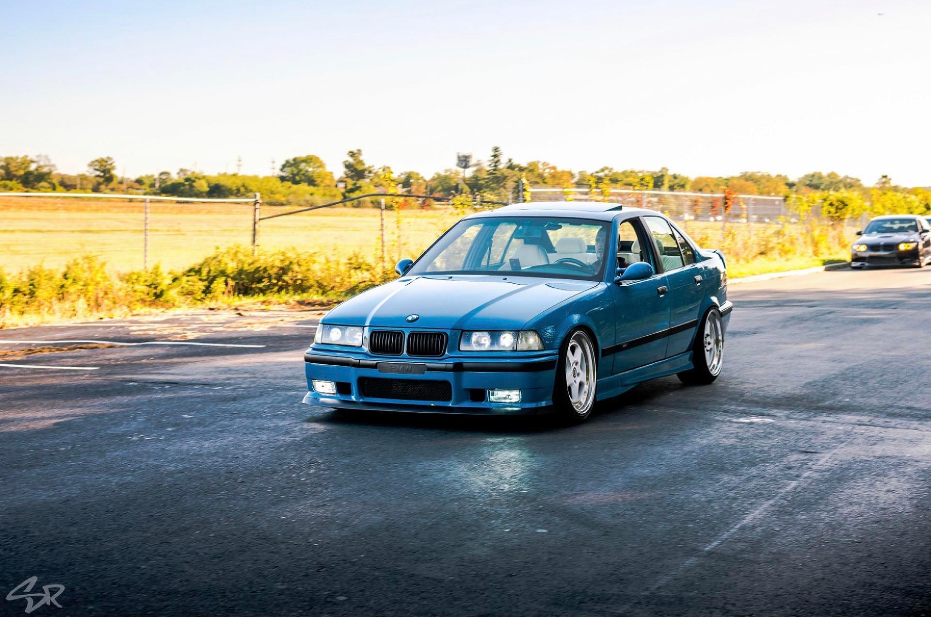 Laguna Seca Blue E36 M3 rolling shot