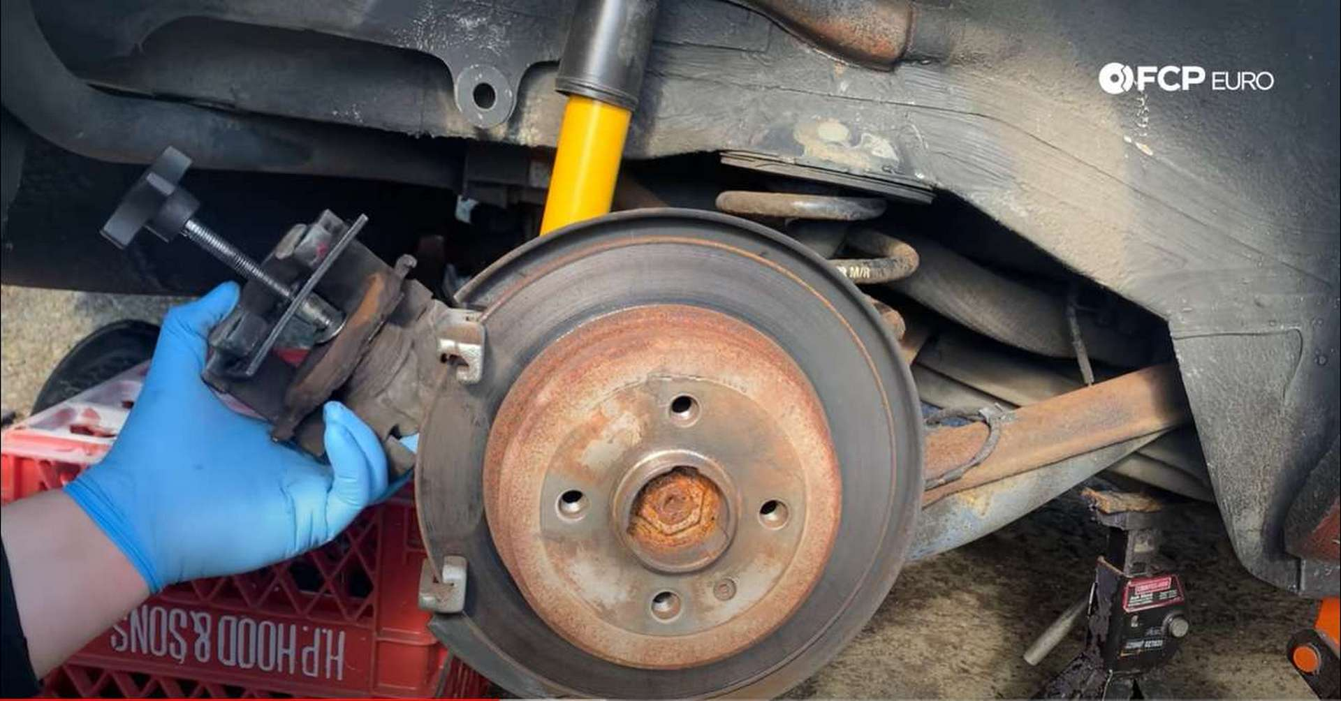 BMW E30 Rear Brakes compressed caliper