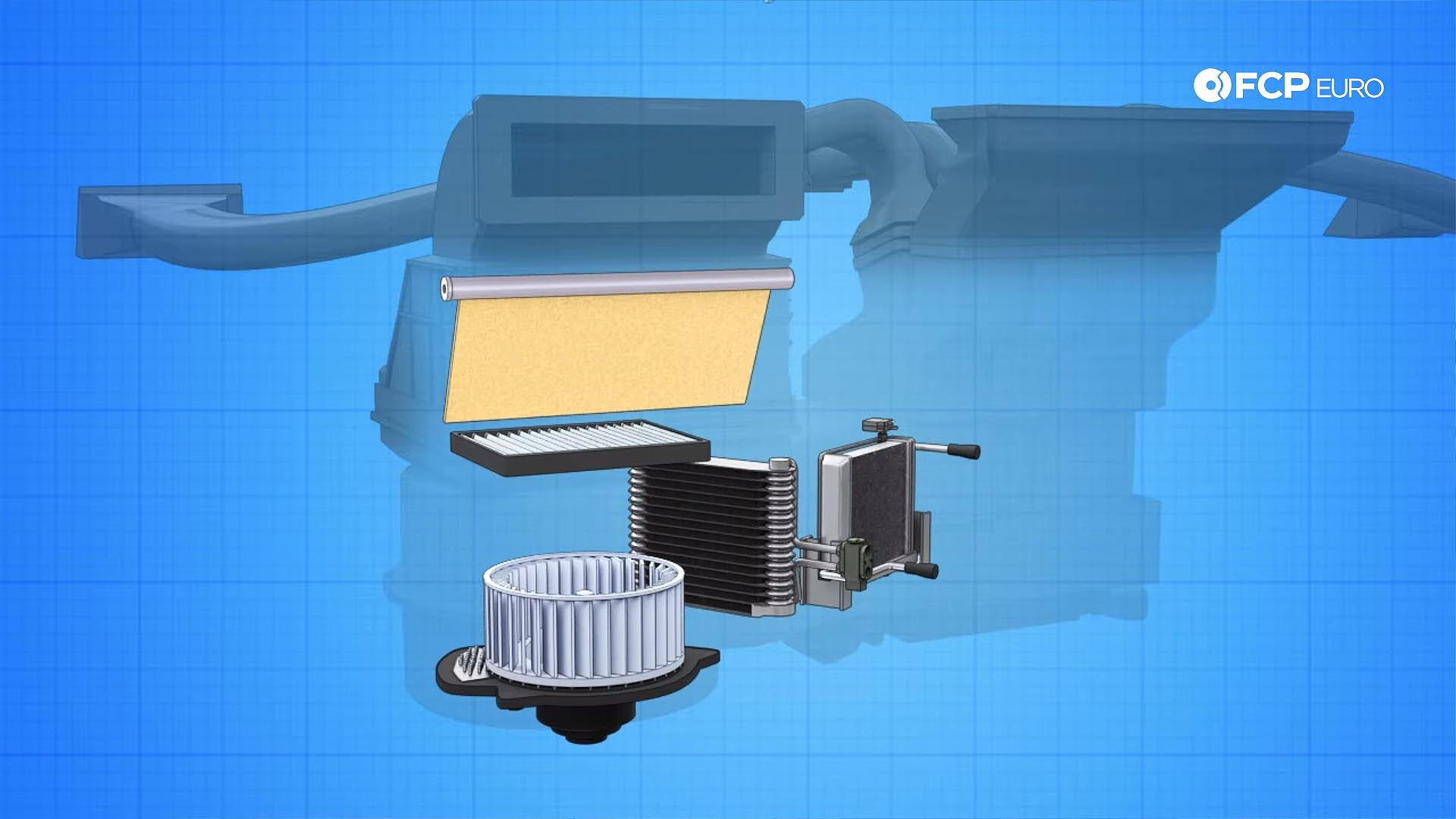 climate control components in heaterbox diagram