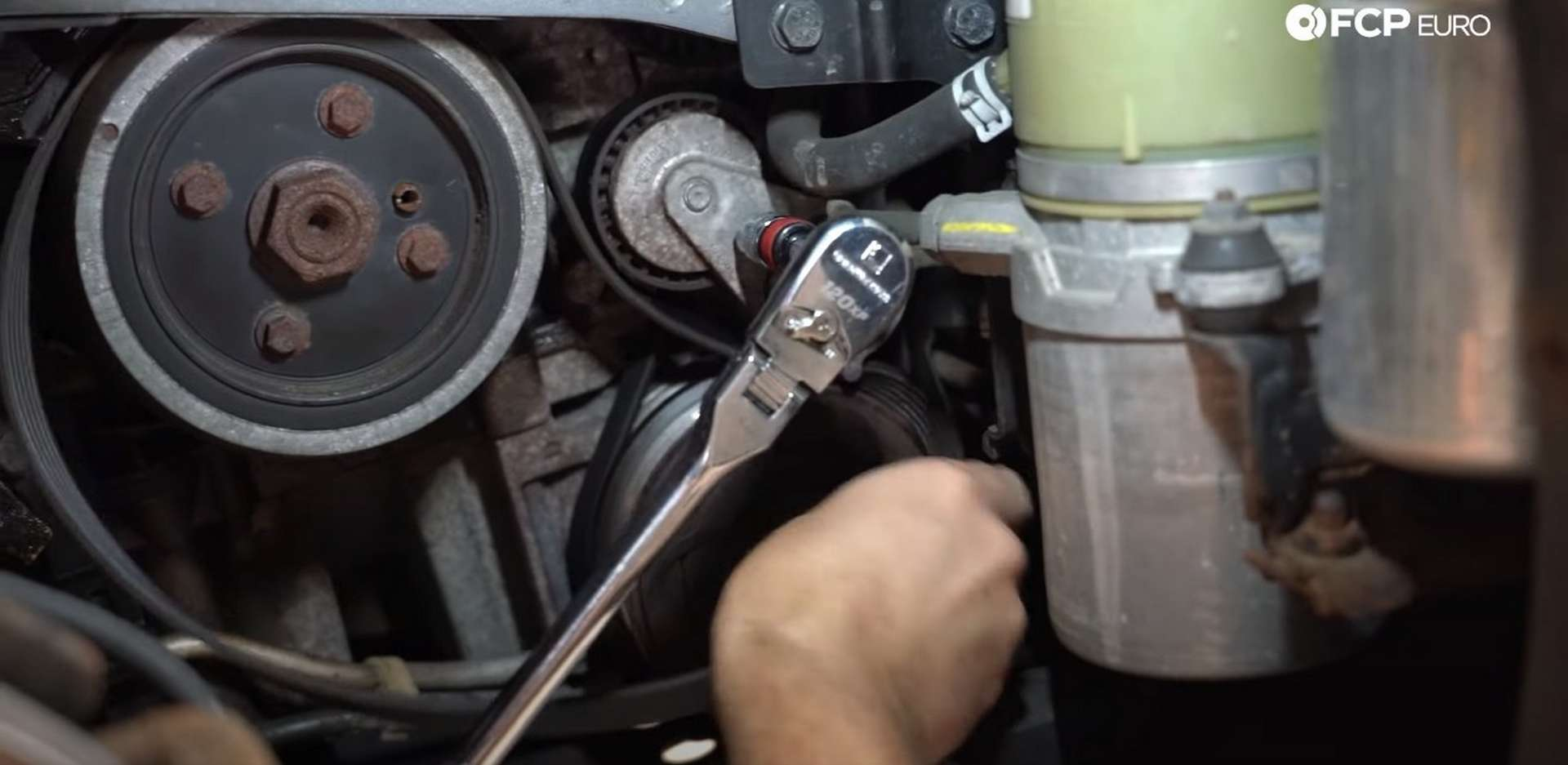 DIY Volvo Alternator and Serpentine Belt Replacement removing A/C belt