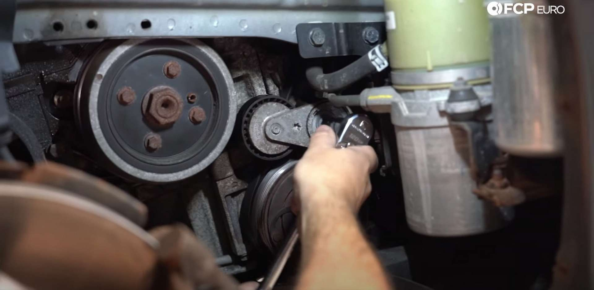 DIY Volvo Alternator and Serpentine Belt Replacement removing A/C belt tensioner