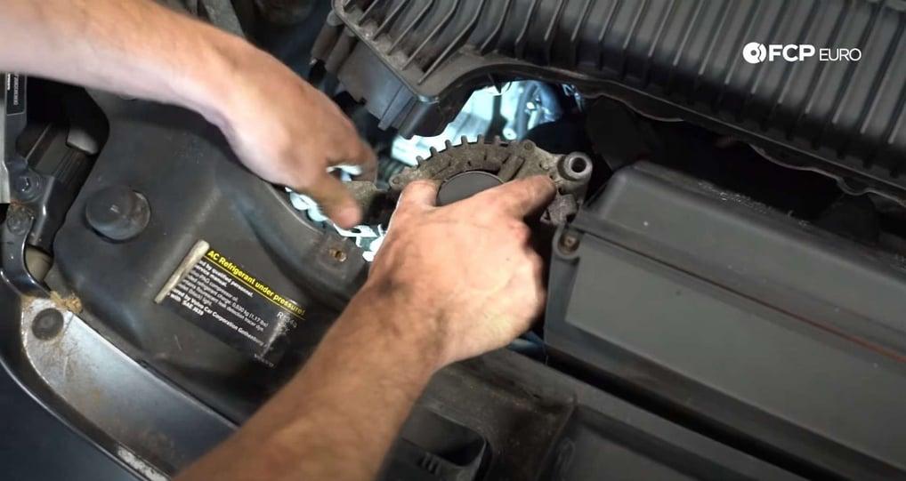 DIY Volvo Alternator and Serpentine Belt Replacement removing the alternator