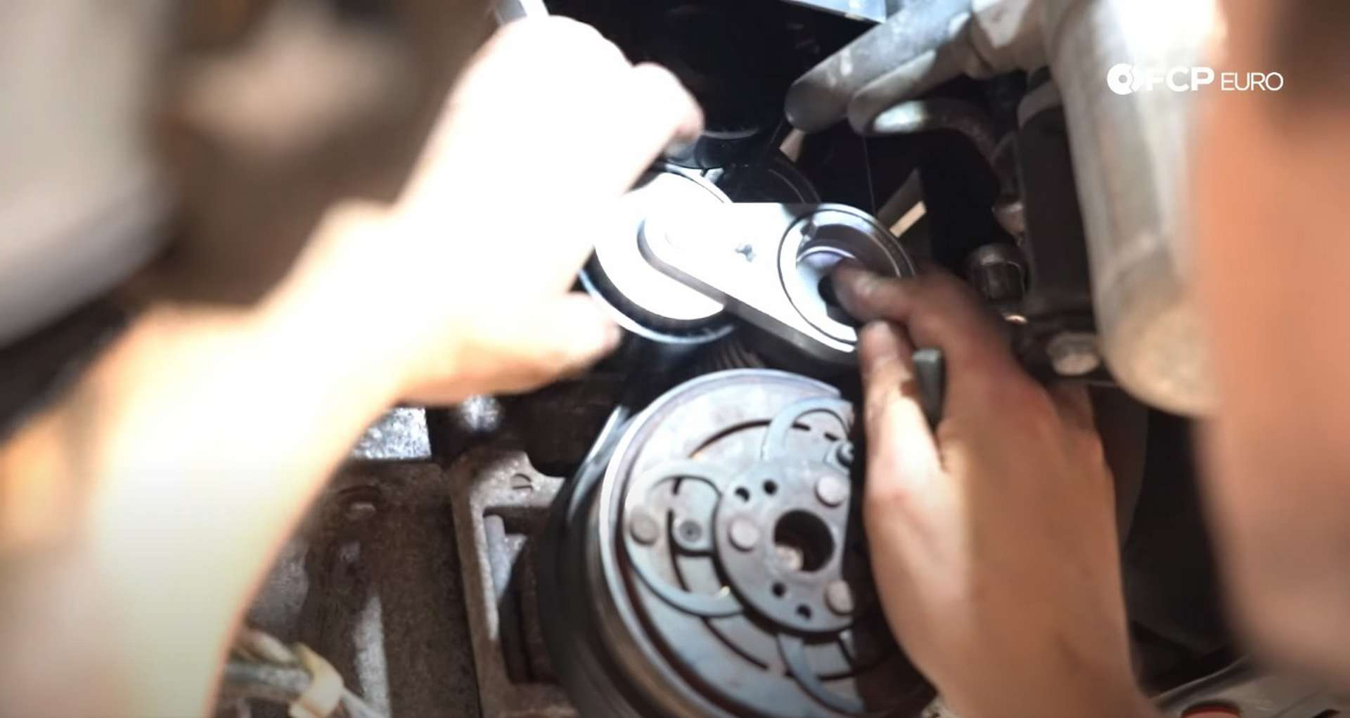 DIY Volvo Alternator and Serpentine Belt Replacement installing the outer tensioner