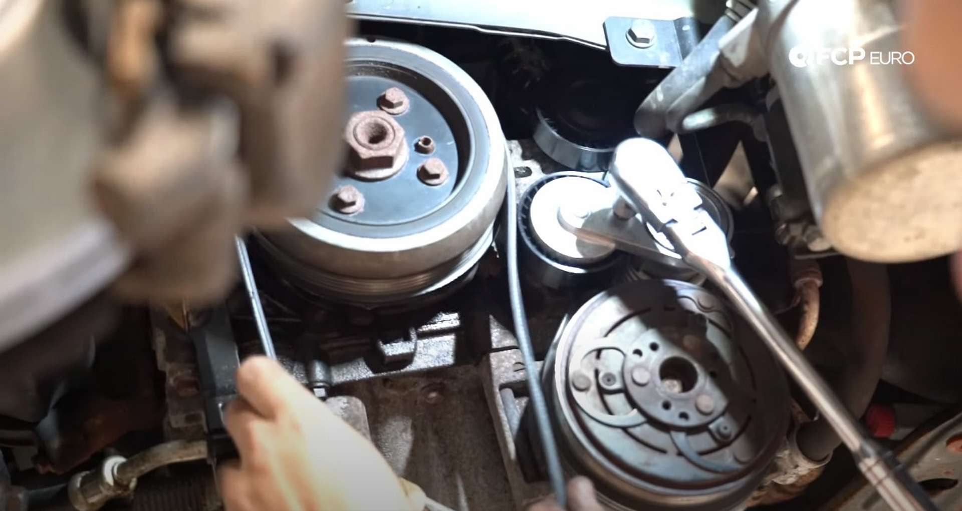 DIY Volvo Alternator and Serpentine Belt Replacement installing the outer belt