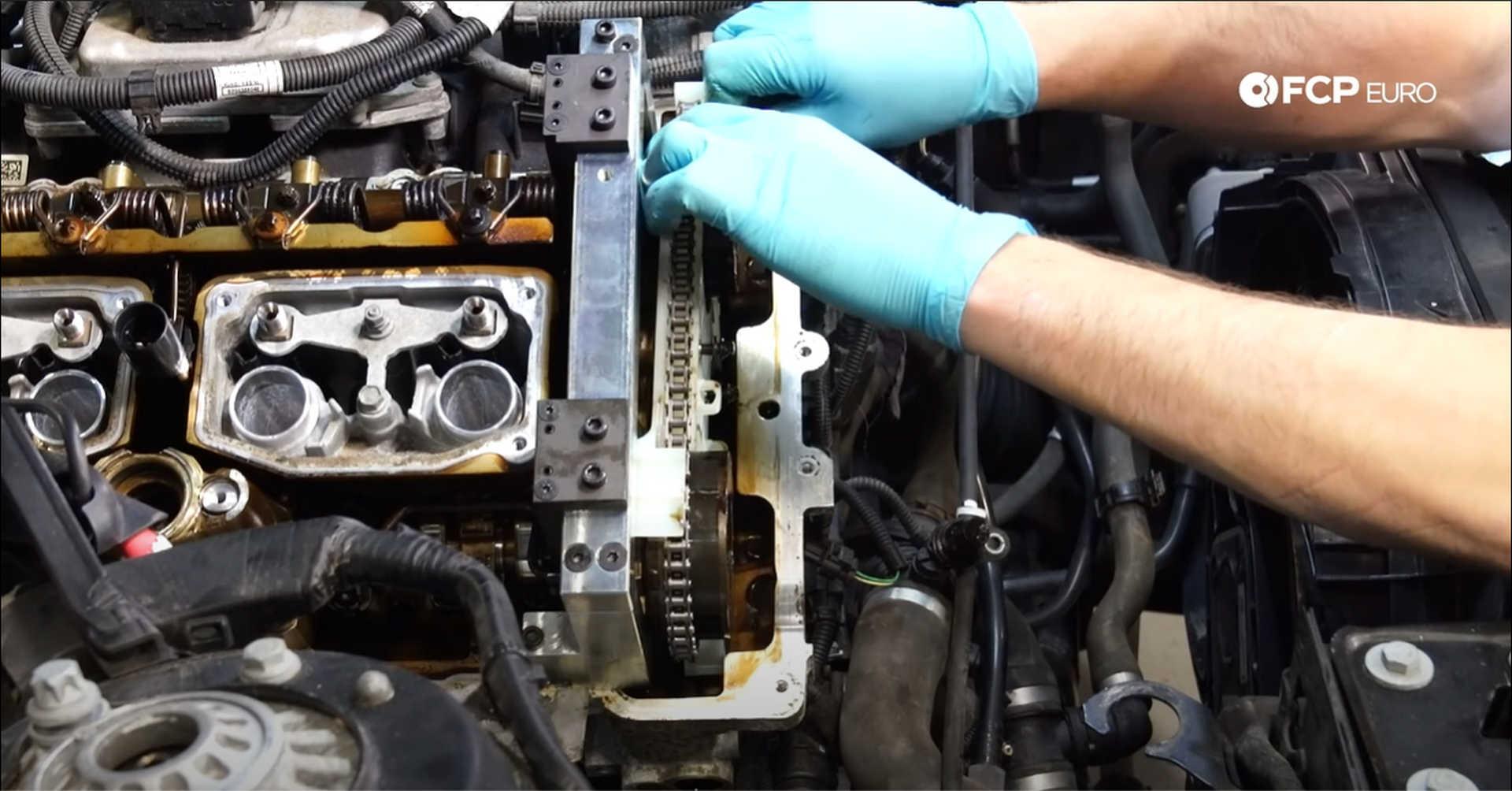 DIY BMW N20 Timing Chain installing the intake camshaft sprocket