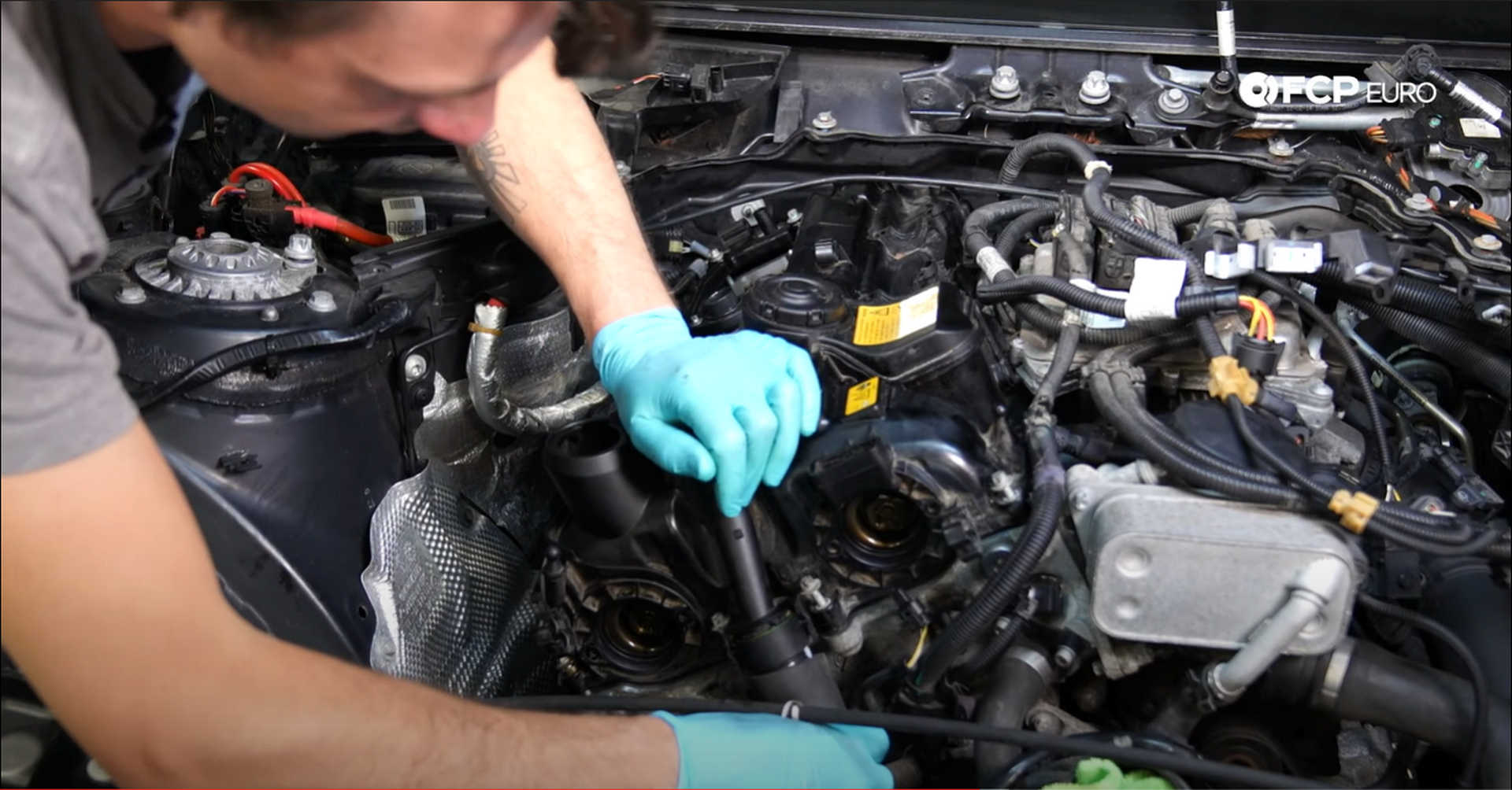 DIY BMW N20 Timing Chain installing the crankcase vent line