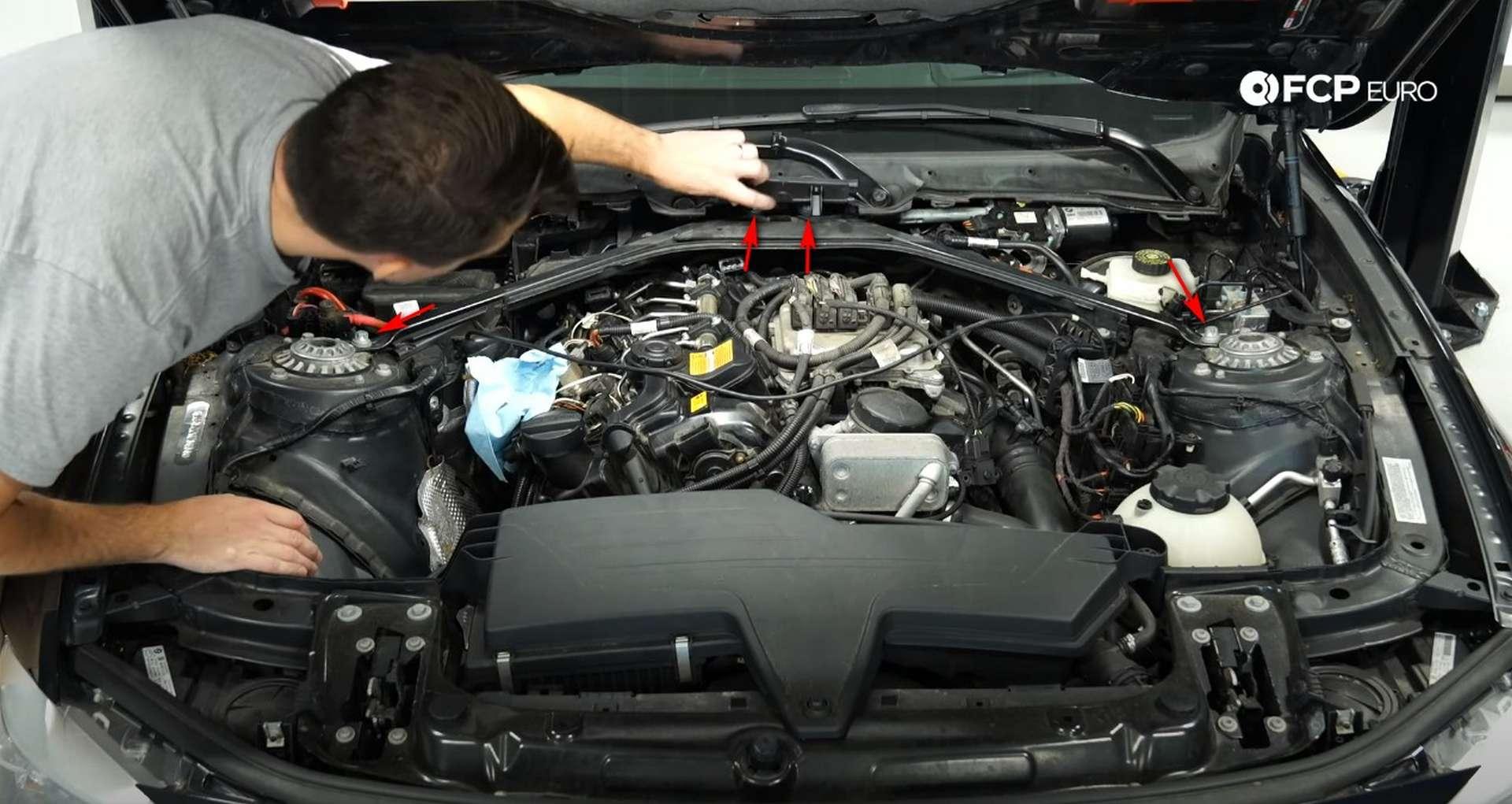 DIY BMW N20 Vacuum Pump strut brace bolt locations