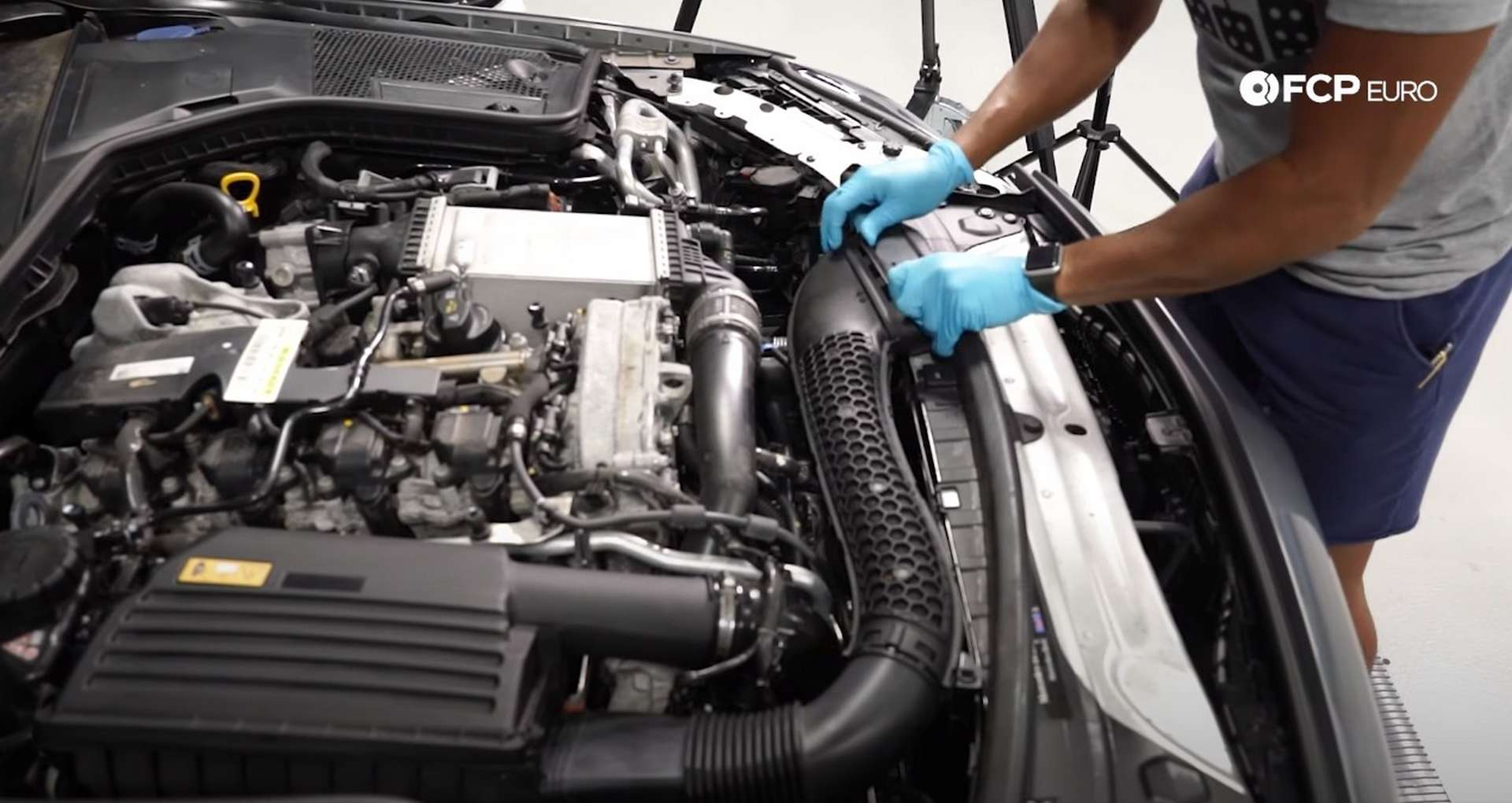 DIY Mercedes M274 Oil Change removing the intake snorkel