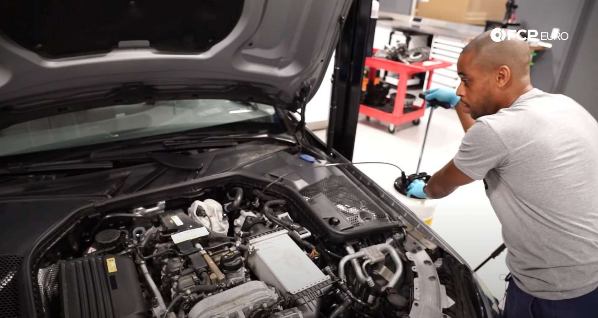 DIY Mercedes M274 Oil Change extracting the oil