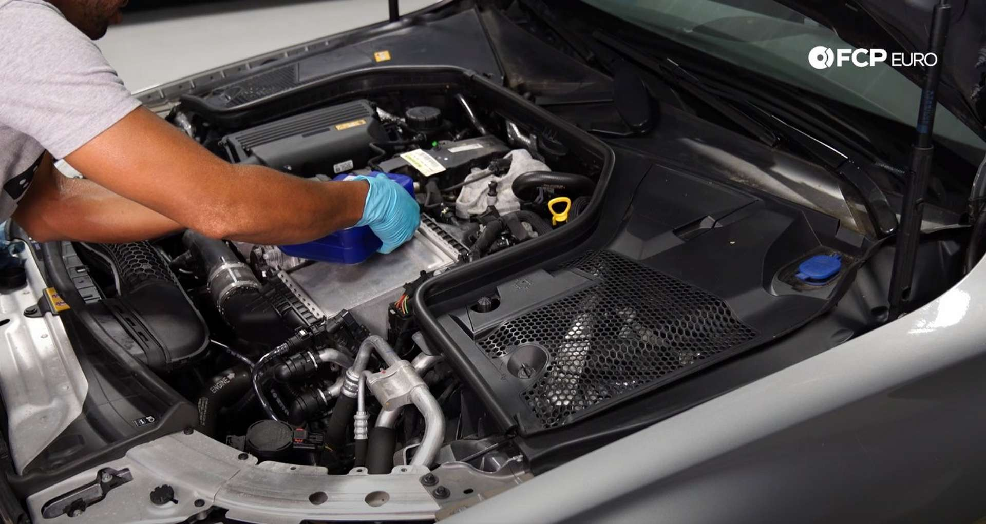 DIY Mercedes M274 Oil Change filling the engine with oil