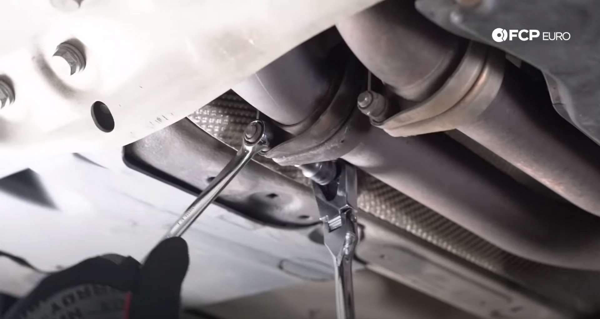 DIY E46 BMW M3 Rear Subframe Refresh Part 1 unbolting the exhaust