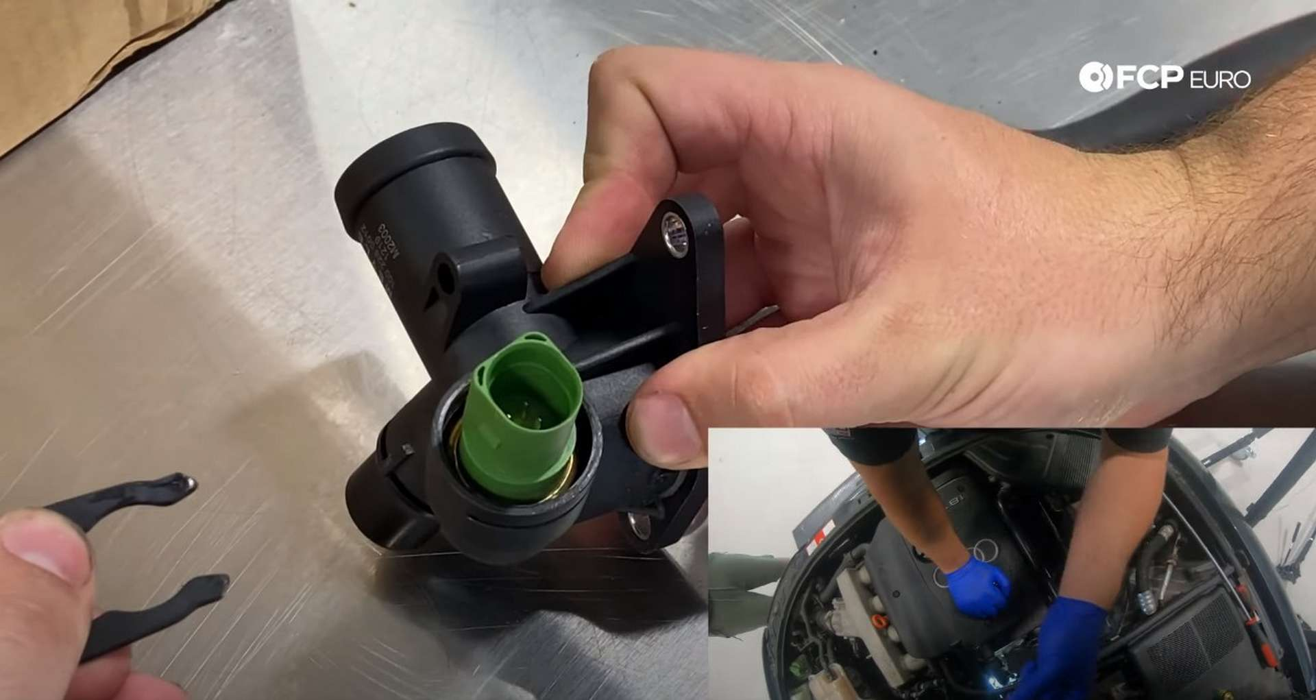 DIY Audi Coolant Temp Sensor removing the locking clip