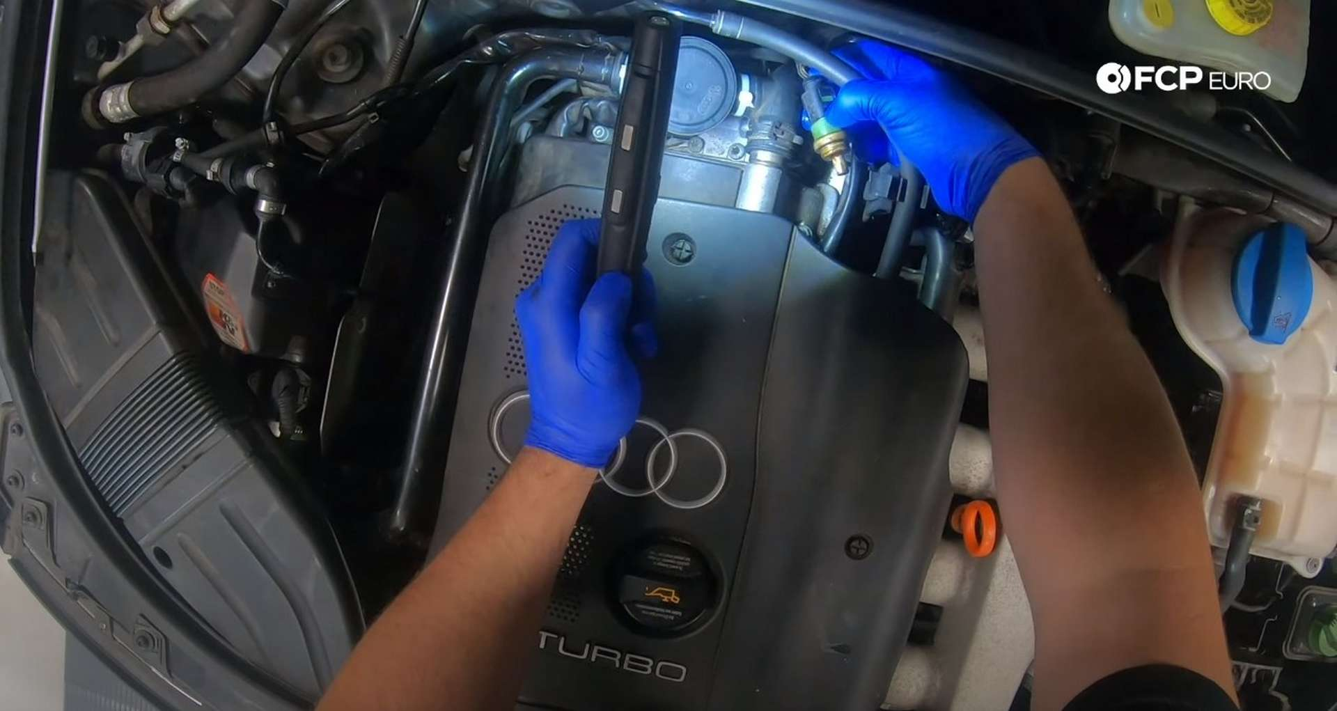 DIY Audi Coolant Temp Sensor disconnecting the coolant temp sensor
