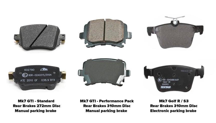 05_Mk7 GTI Golf R rear brake pad comparison