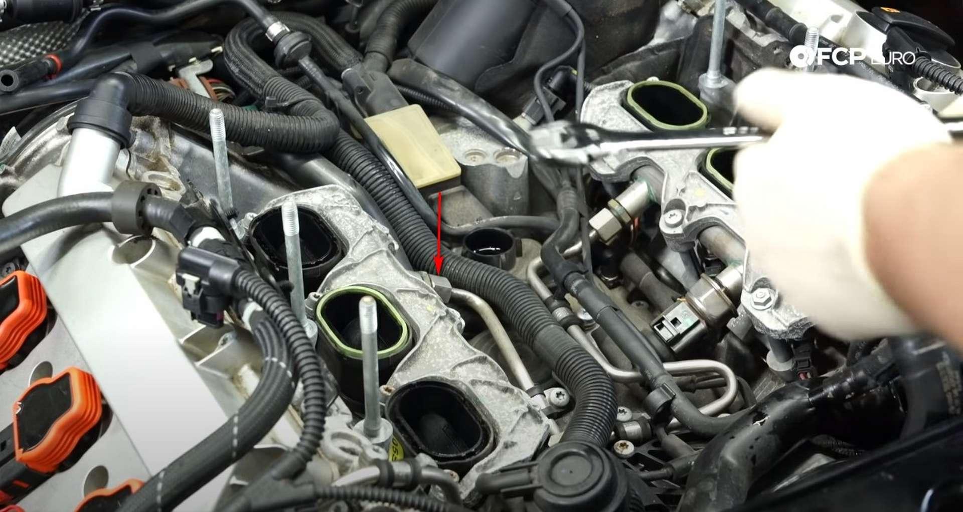 DIY Audi 3.0t Walnut Blasting Intake Valves manifold fuel line connection location