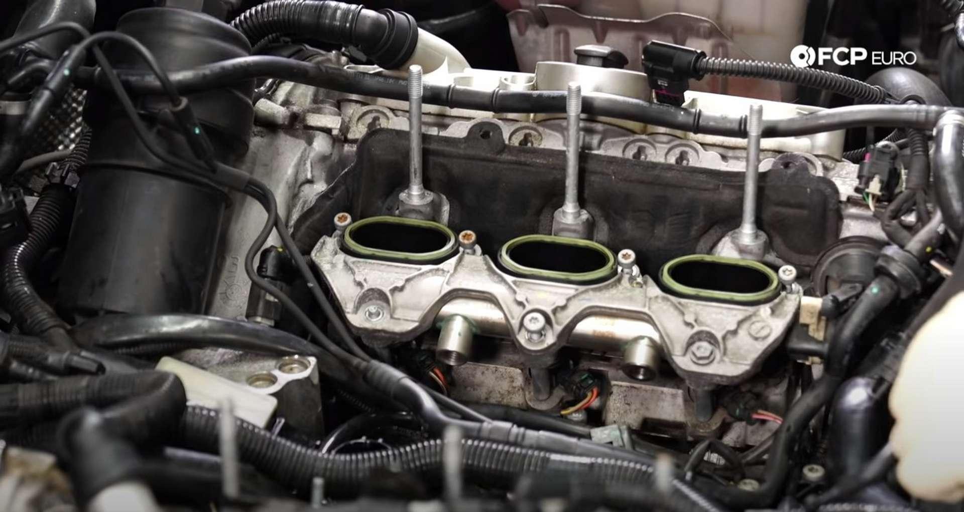 DIY Audi 3.0t Walnut Blasting Intake Valves installing the manifold/tumble flap housing