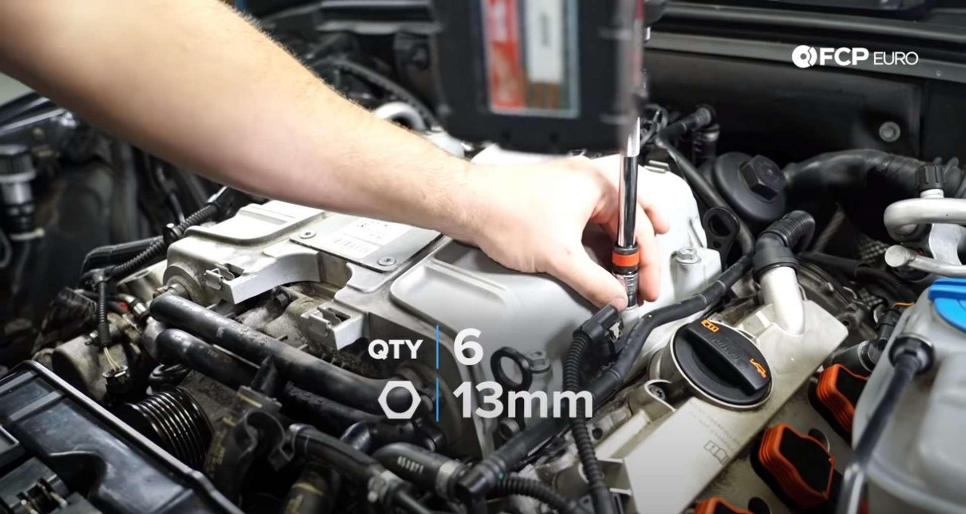 DIY Audi 3.0t Walnut Blasting Intake Valves tightening the supercharger nuts