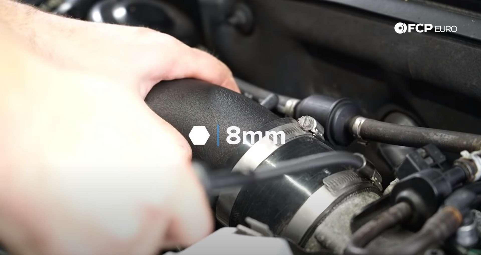 DIY Audi 3.0t Walnut Blasting Intake Valves tightening the intake hose clamps