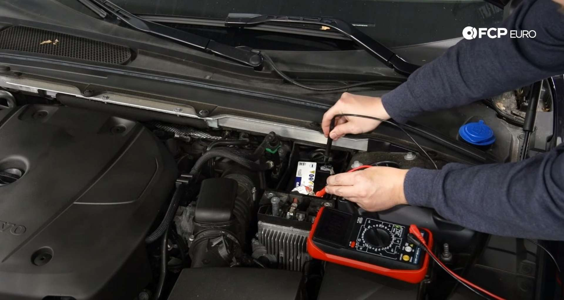 DIY Volvo SPA auxiliary Battery Check and Replacement testing the battery