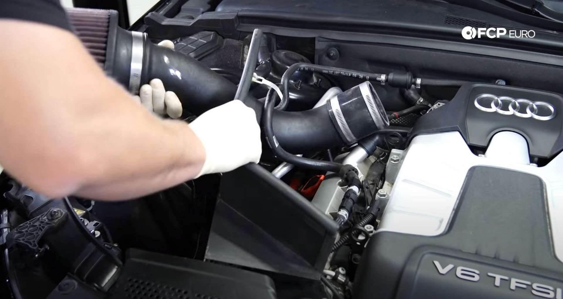 DIY Audi 3.0T Supercharger Oil Change removing the intake assembly
