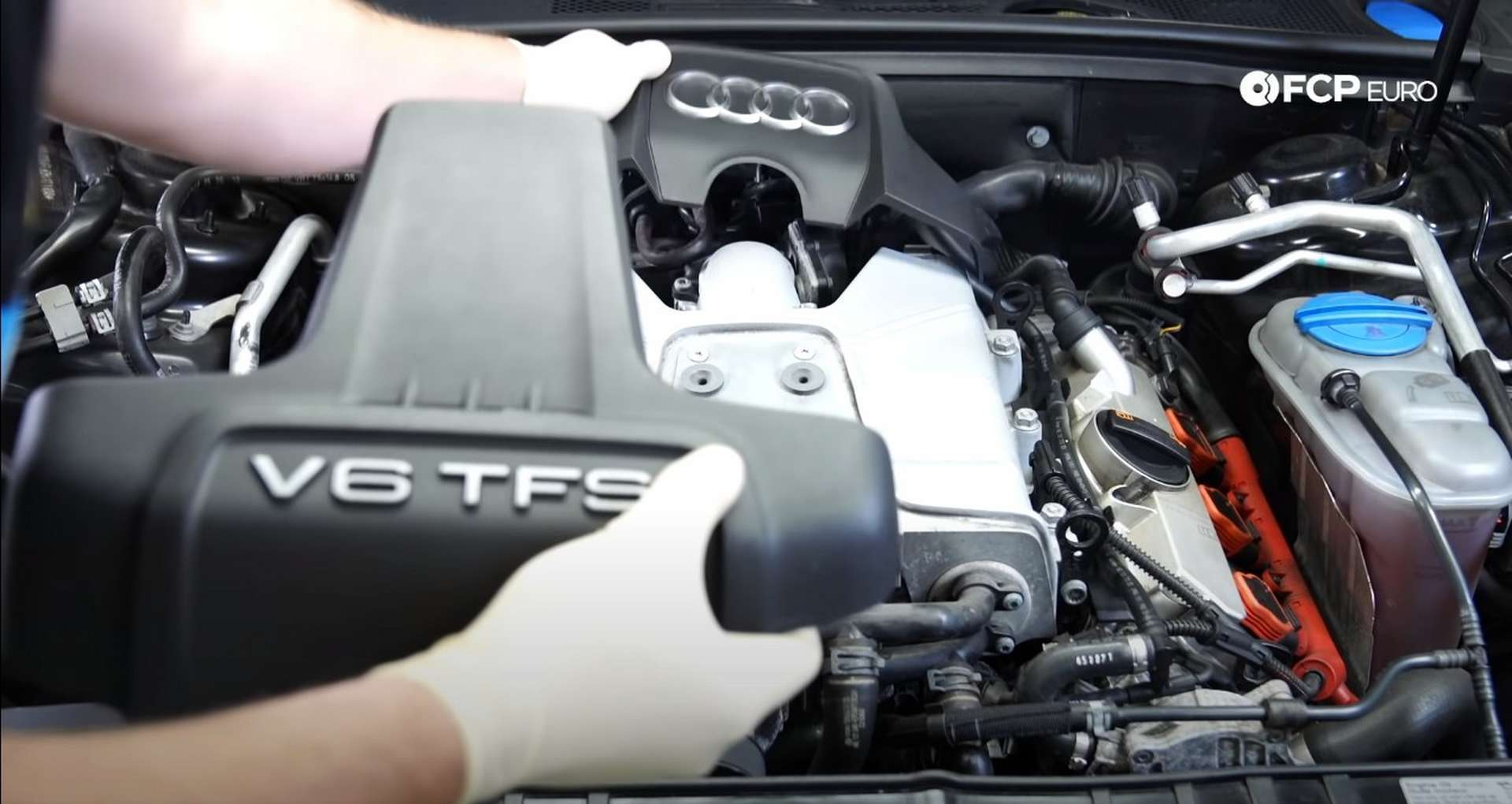 DIY Audi 3.0T Supercharger Oil Change removing the dress-up covers