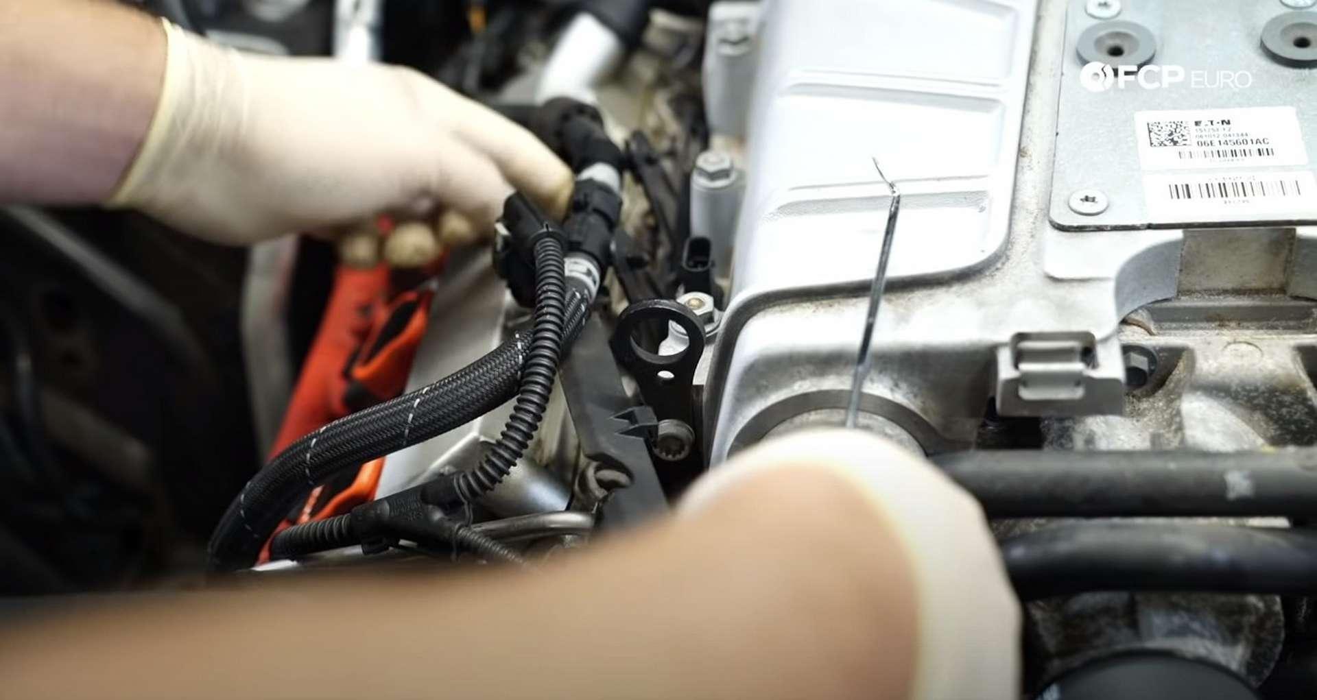 DIY Audi 3.0T Supercharger Oil Change removing MAP sensor cover