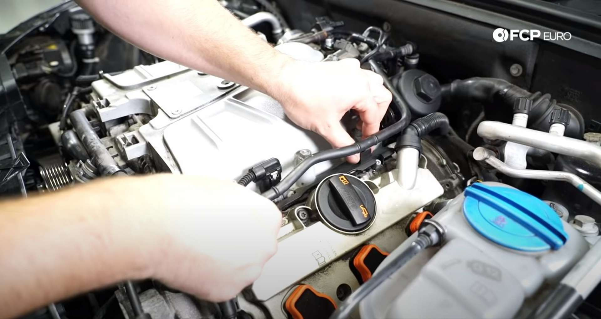 DIY Audi 3.0T Supercharger Oil Change attaching the MAP sensor covers