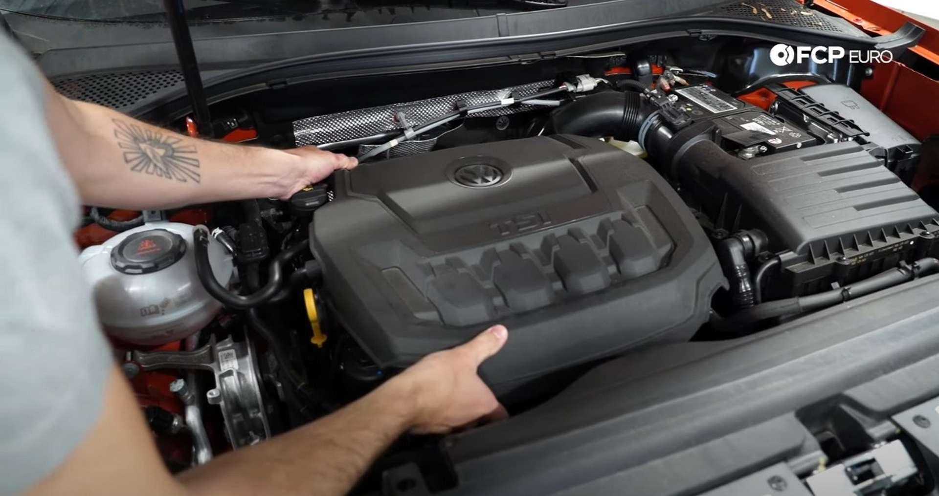 DIY Volkswagen EA888 Oil Change removing the engine cover
