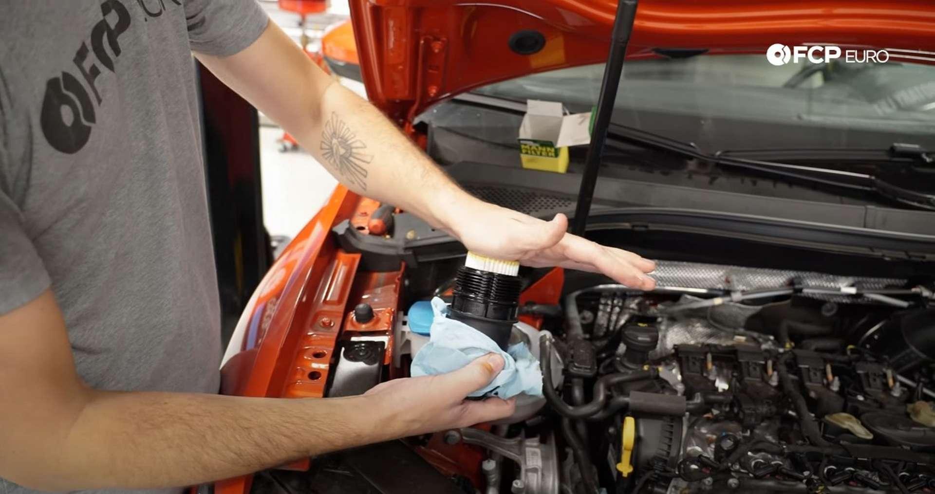 DIY Volkswagen EA888 Oil Change installing the new oil filter