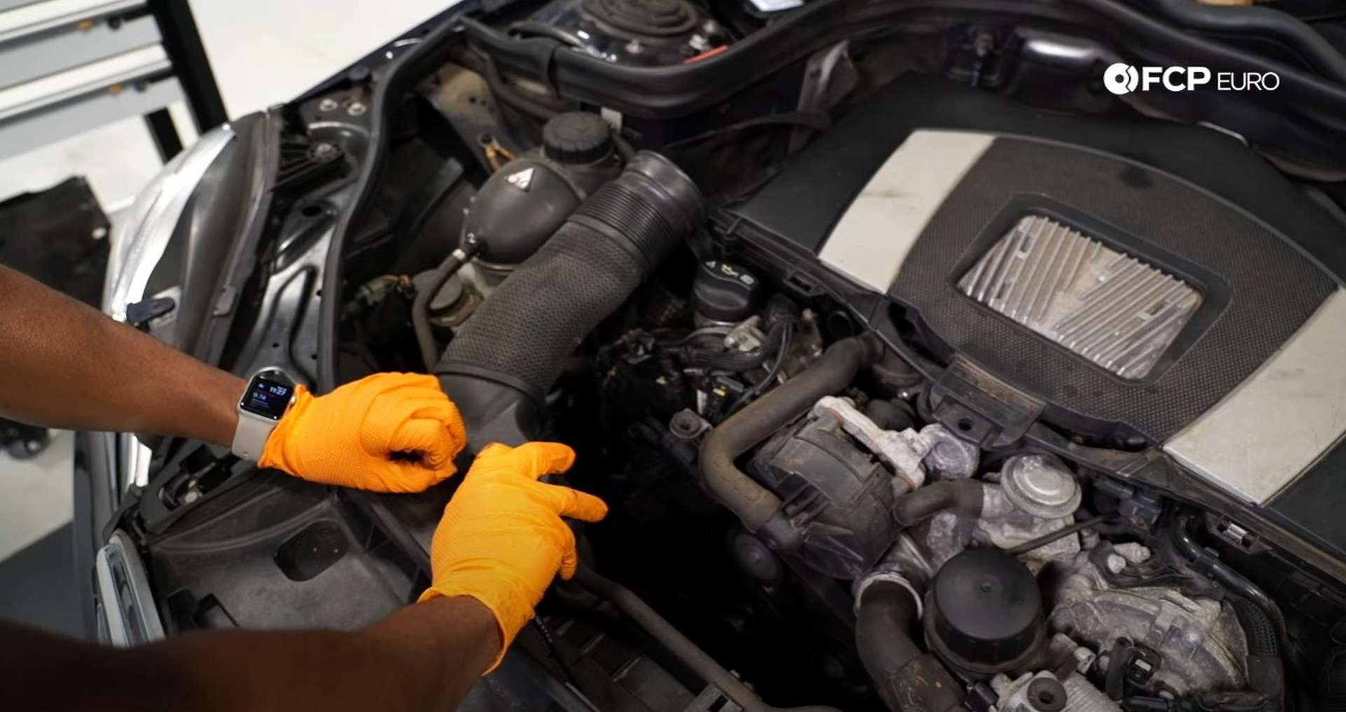DIY Mercedes W212/204 Alternator and Drive Belt Replacement removing the intake snorkel