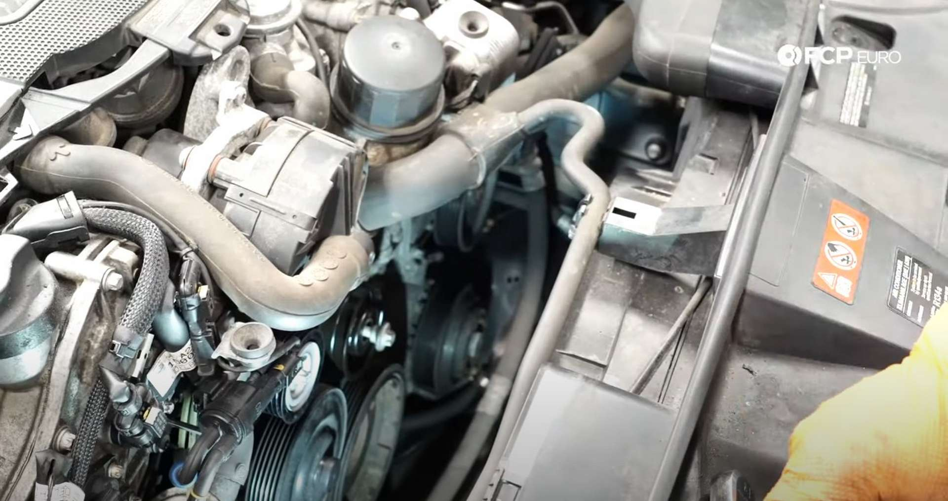 DIY Mercedes W212/204 Alternator and Drive Belt Replacement installing the other idler pulley