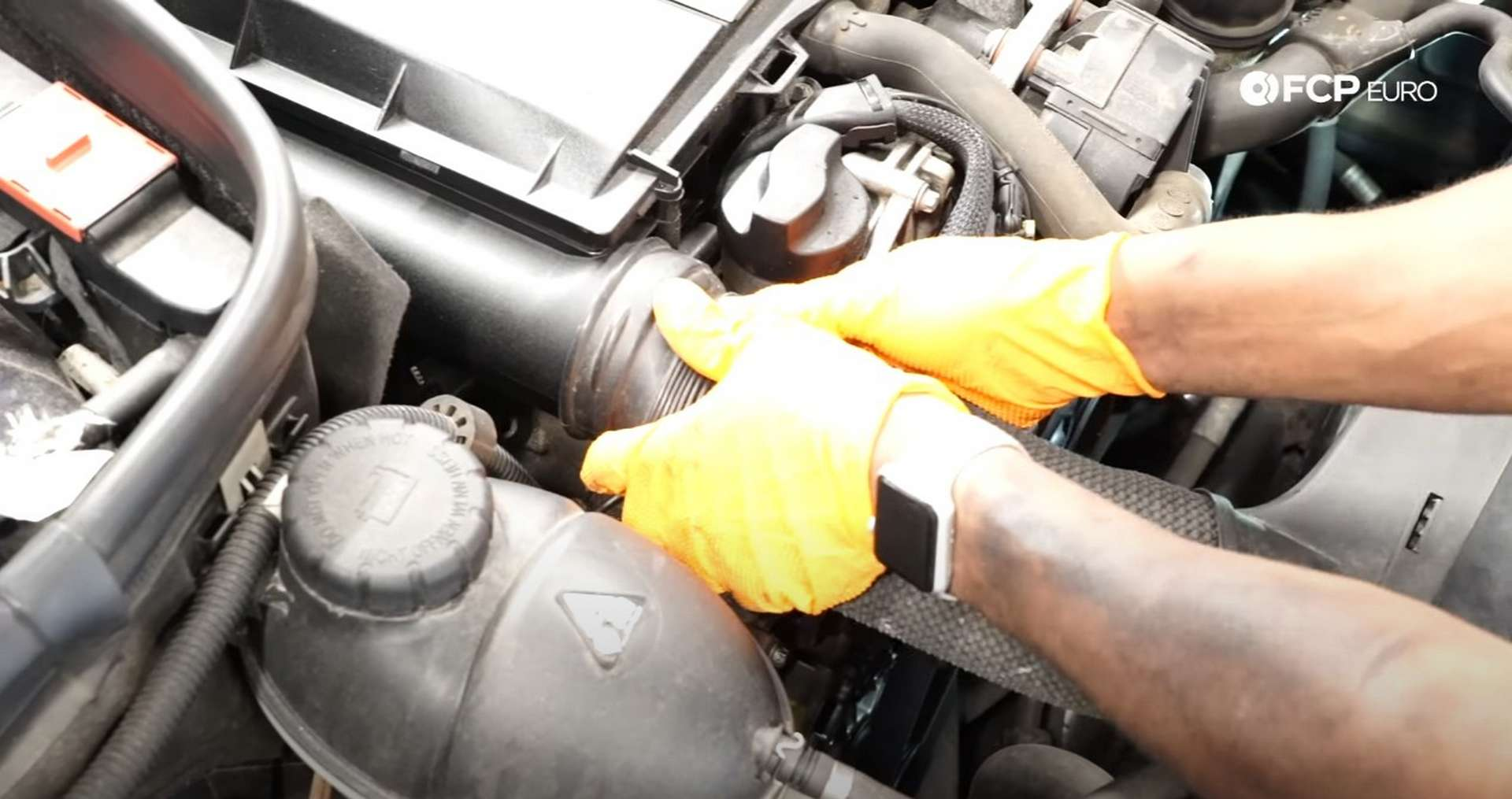 DIY Mercedes W212/204 Alternator and Drive Belt Replacement reconnecting the intake