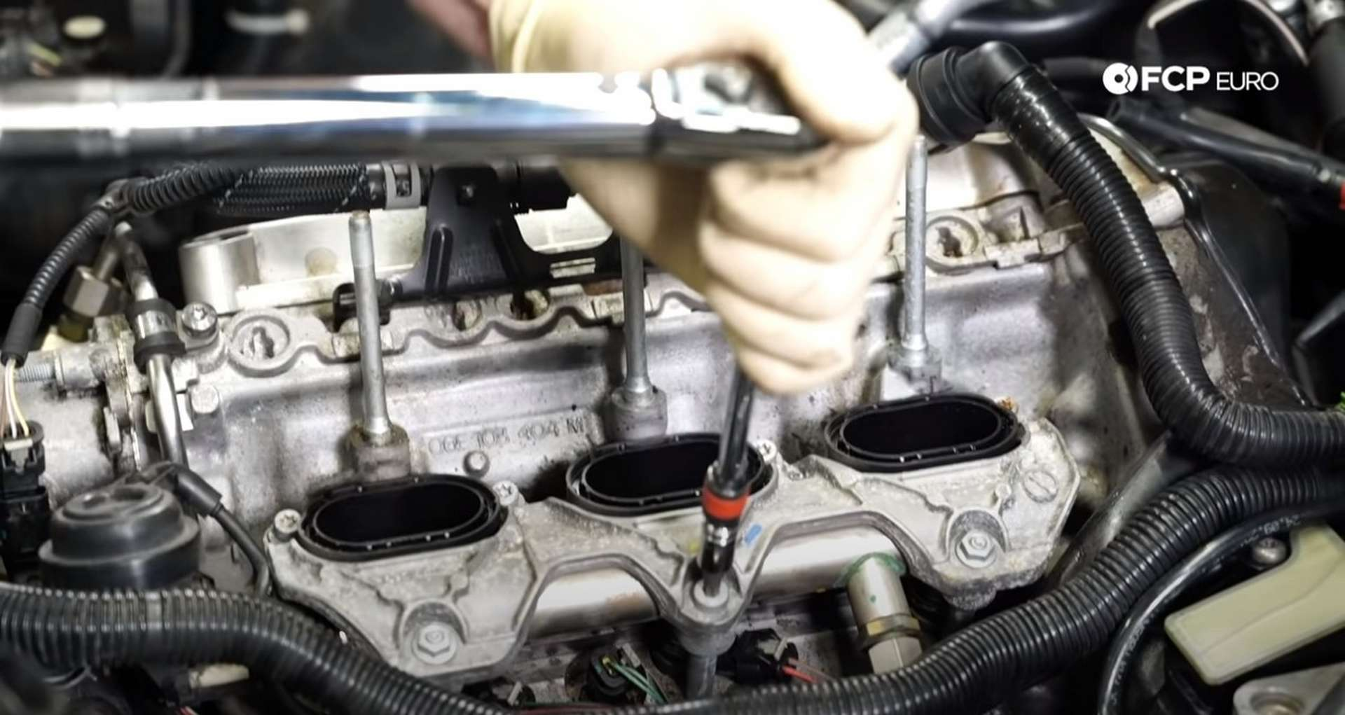 DIY Audi 3.0T PCV/AOS Replacement securing the intake manifold to the engine