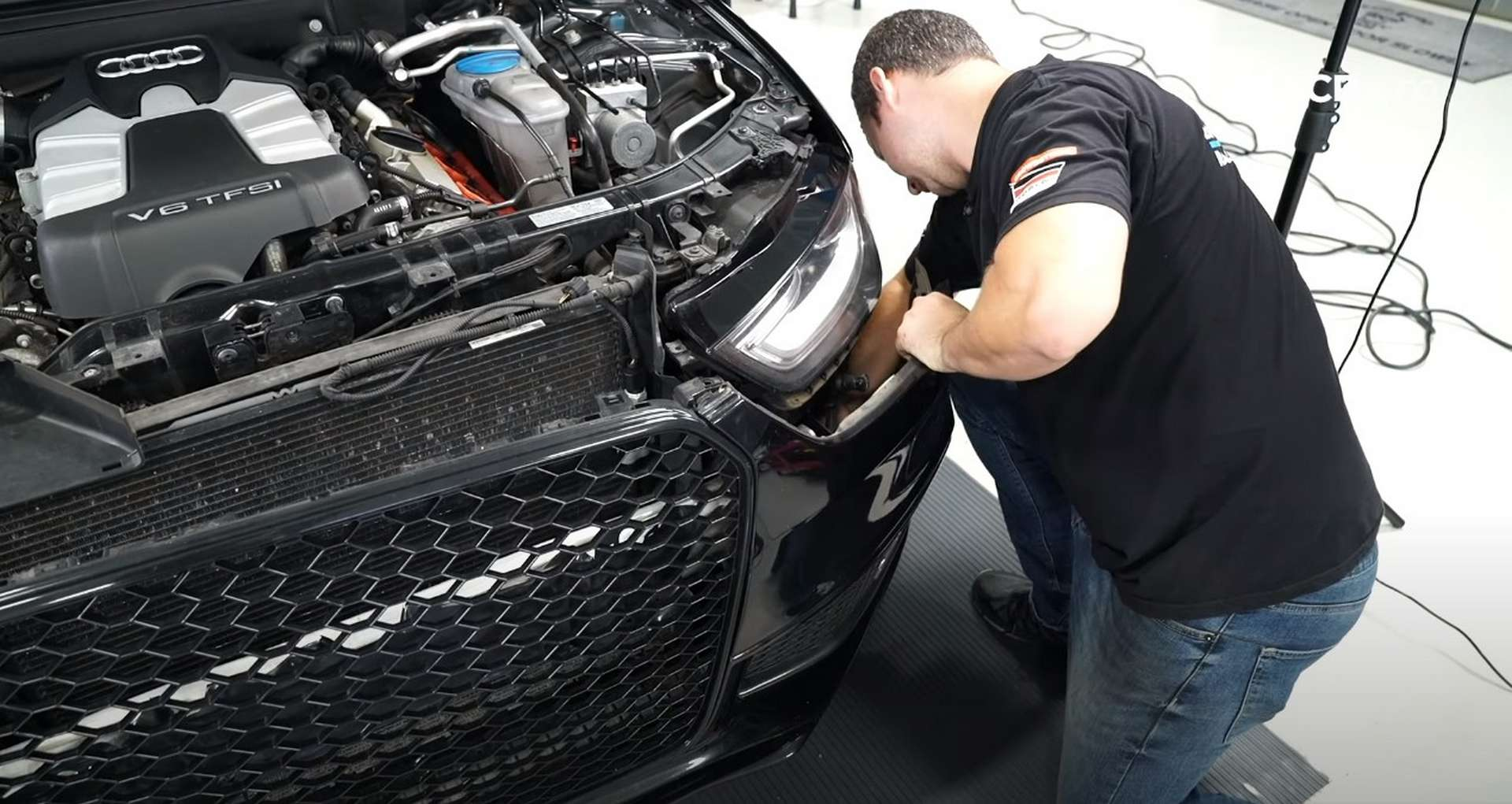 DIY Audi B8.5 Water Pump and Thermostat Replacement removing the undertray