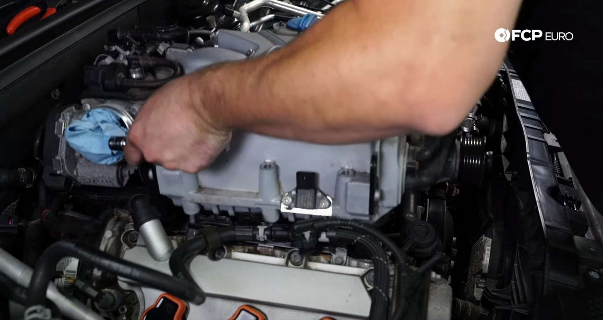 DIY Audi B8.5 Water Pump and Thermostat Replacement removing the supercharger