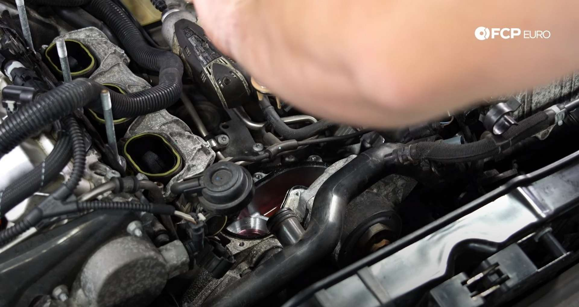 DIY Audi B8.5 Water Pump and Thermostat Replacement removing the thermostat