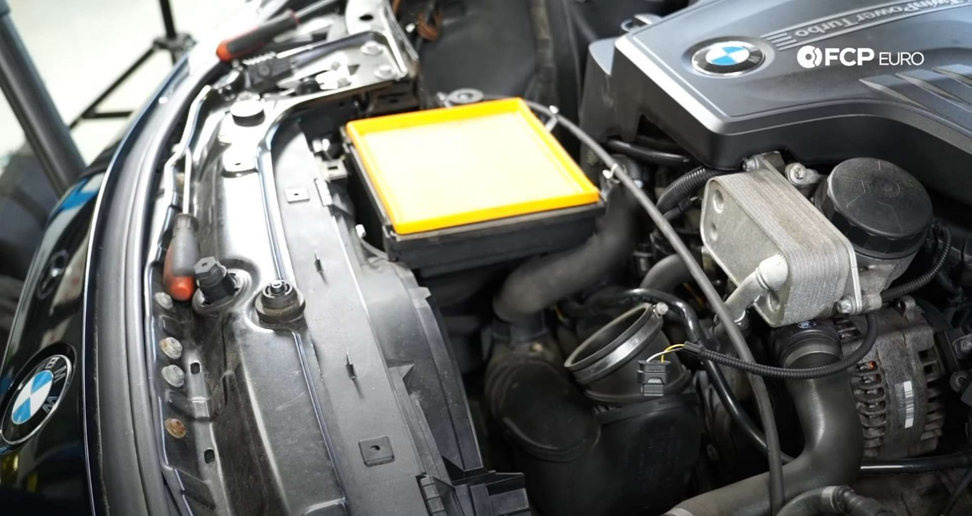 DIY BMW F30 Air Filter Replacement airbox cover removed