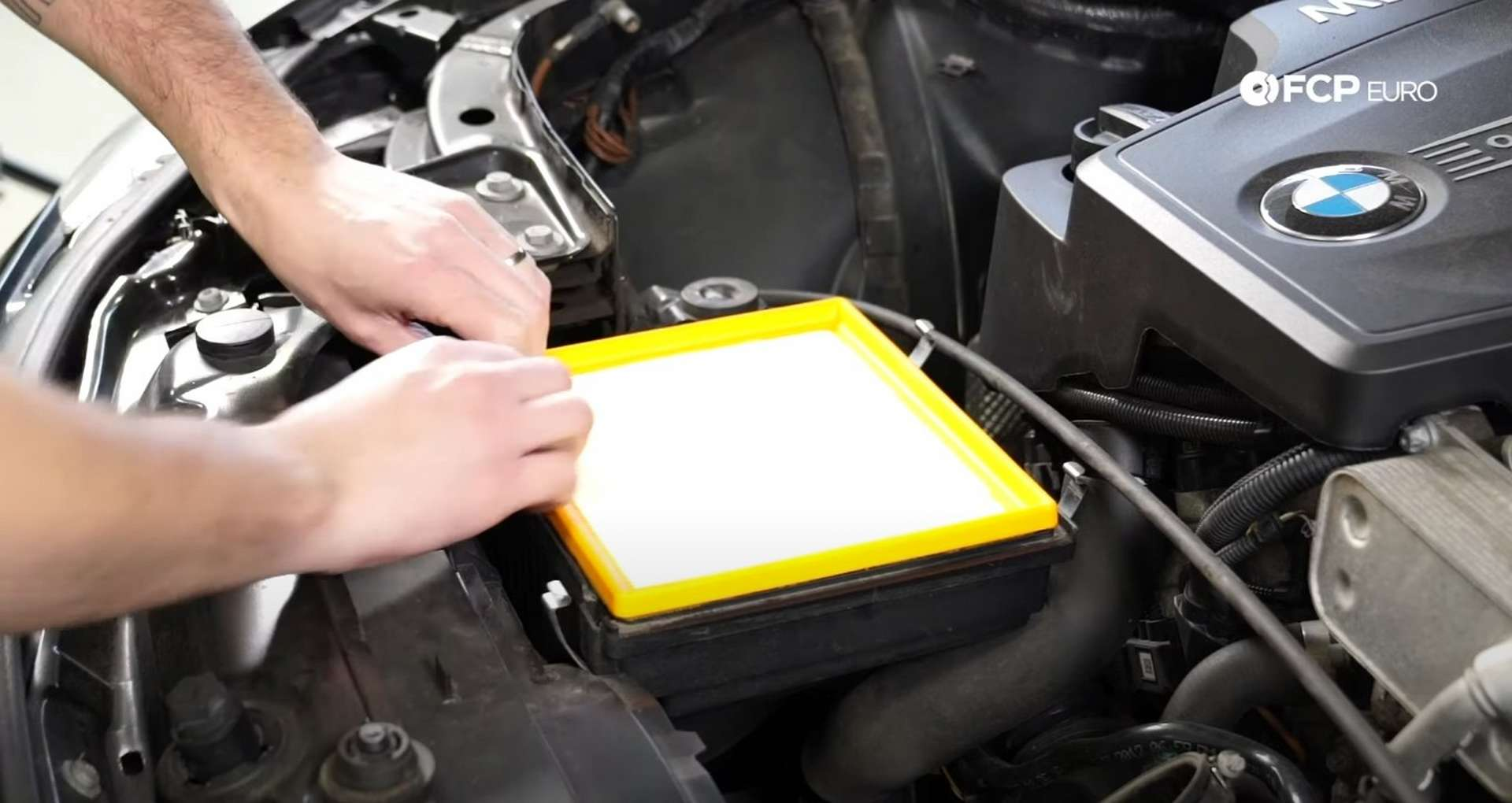 DIY BMW F30 Air Filter Replacement fitting the new filter